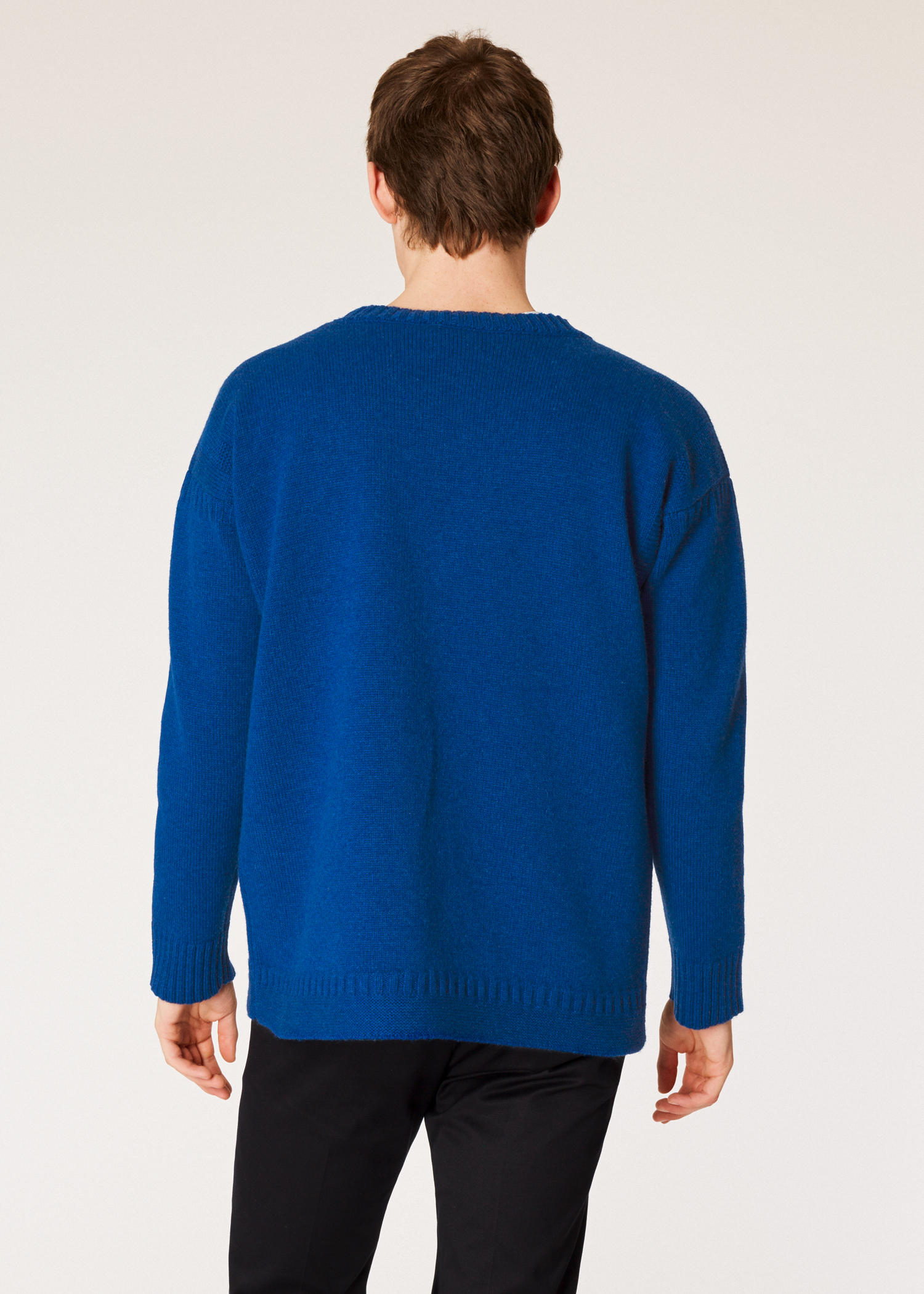 Model back close up - Men s Blue Lambswool Moss-Stitch Crew Neck Sweater  Paul Smith d54d30e9f