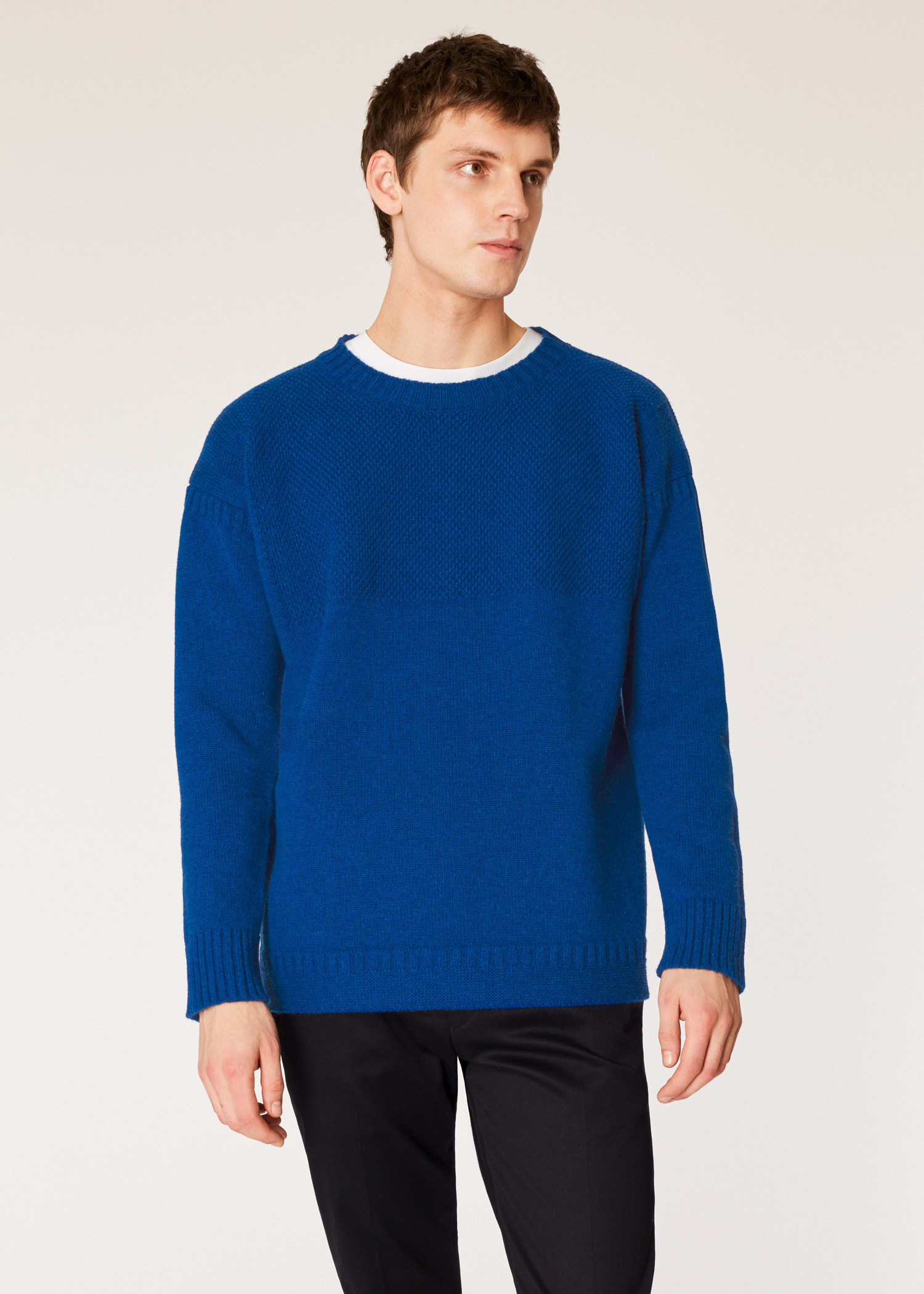 Model front close up - Men s Blue Lambswool Moss-Stitch Crew Neck Sweater  Paul Smith 6309e04a4