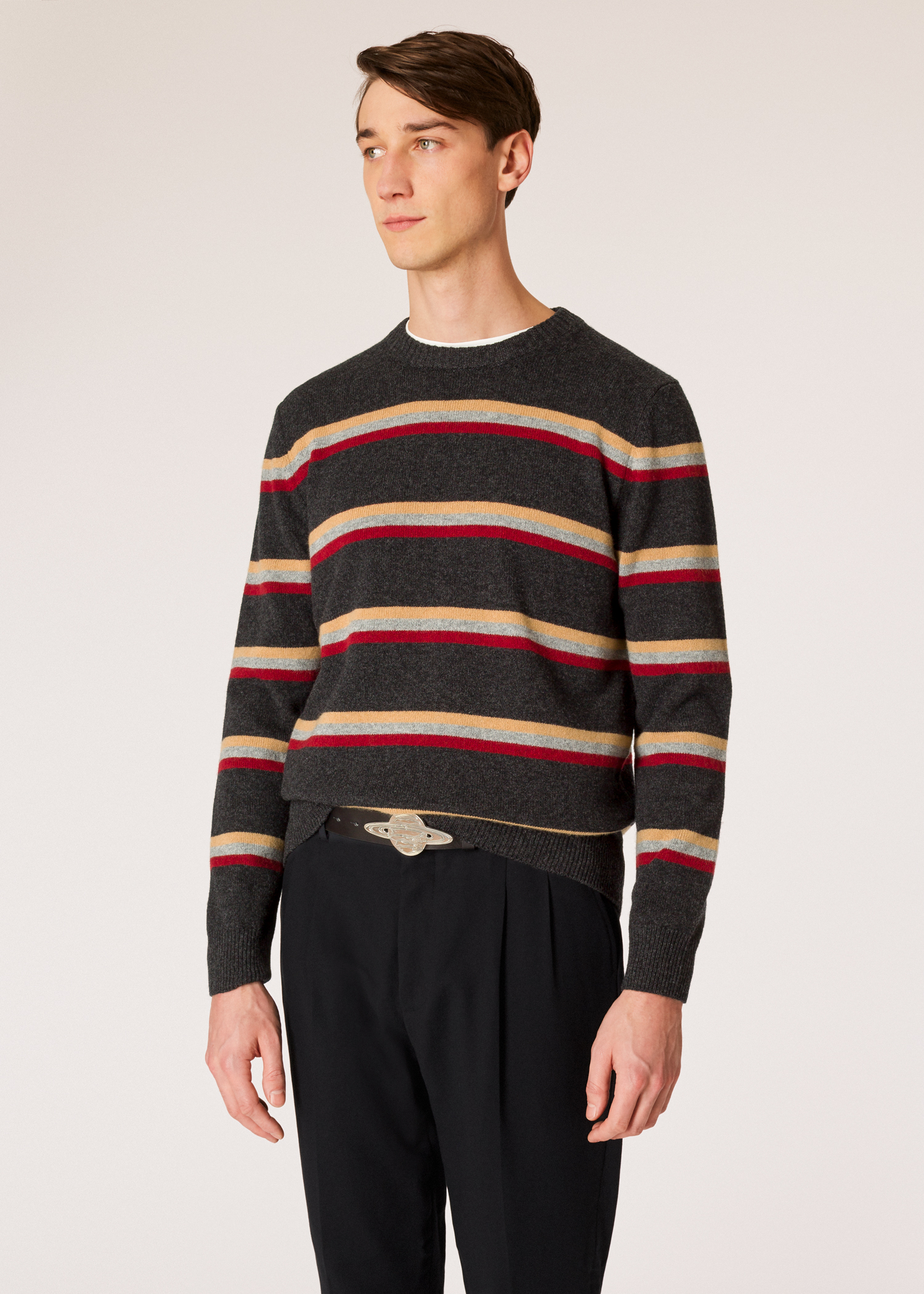 dd06ceee43 Model front close up - Men s Charcoal Grey Stripe Lambswool Sweater Paul  Smith