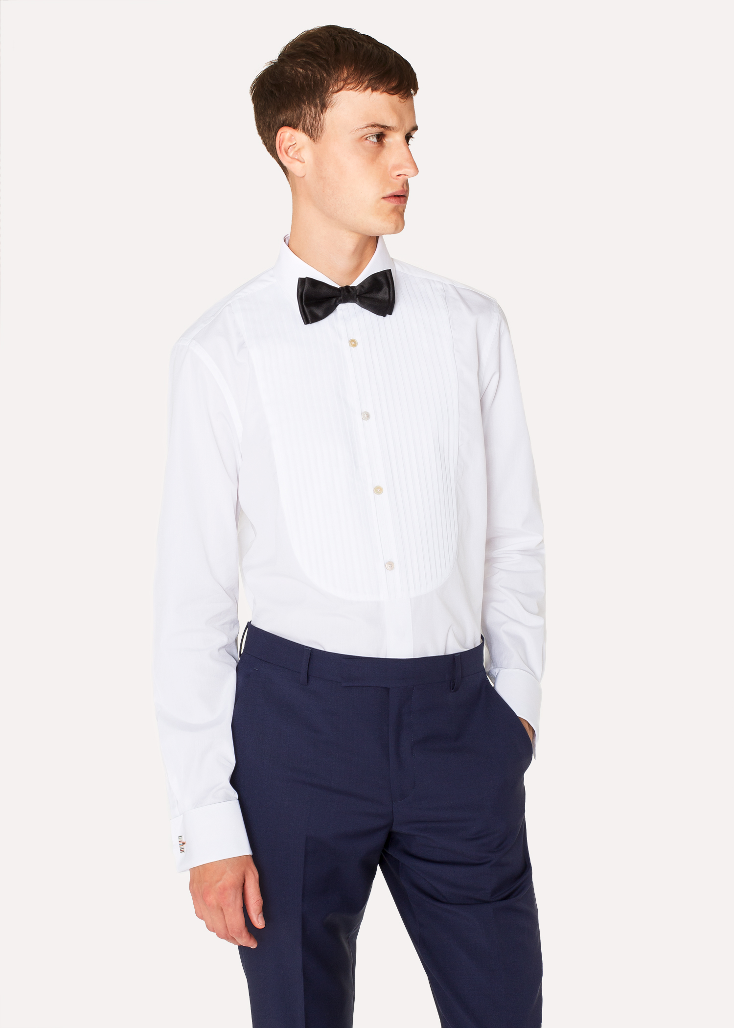 chemise de soir e homme blanche pliss e poignets 39 artist stripe 39 en coton paul smith francais. Black Bedroom Furniture Sets. Home Design Ideas
