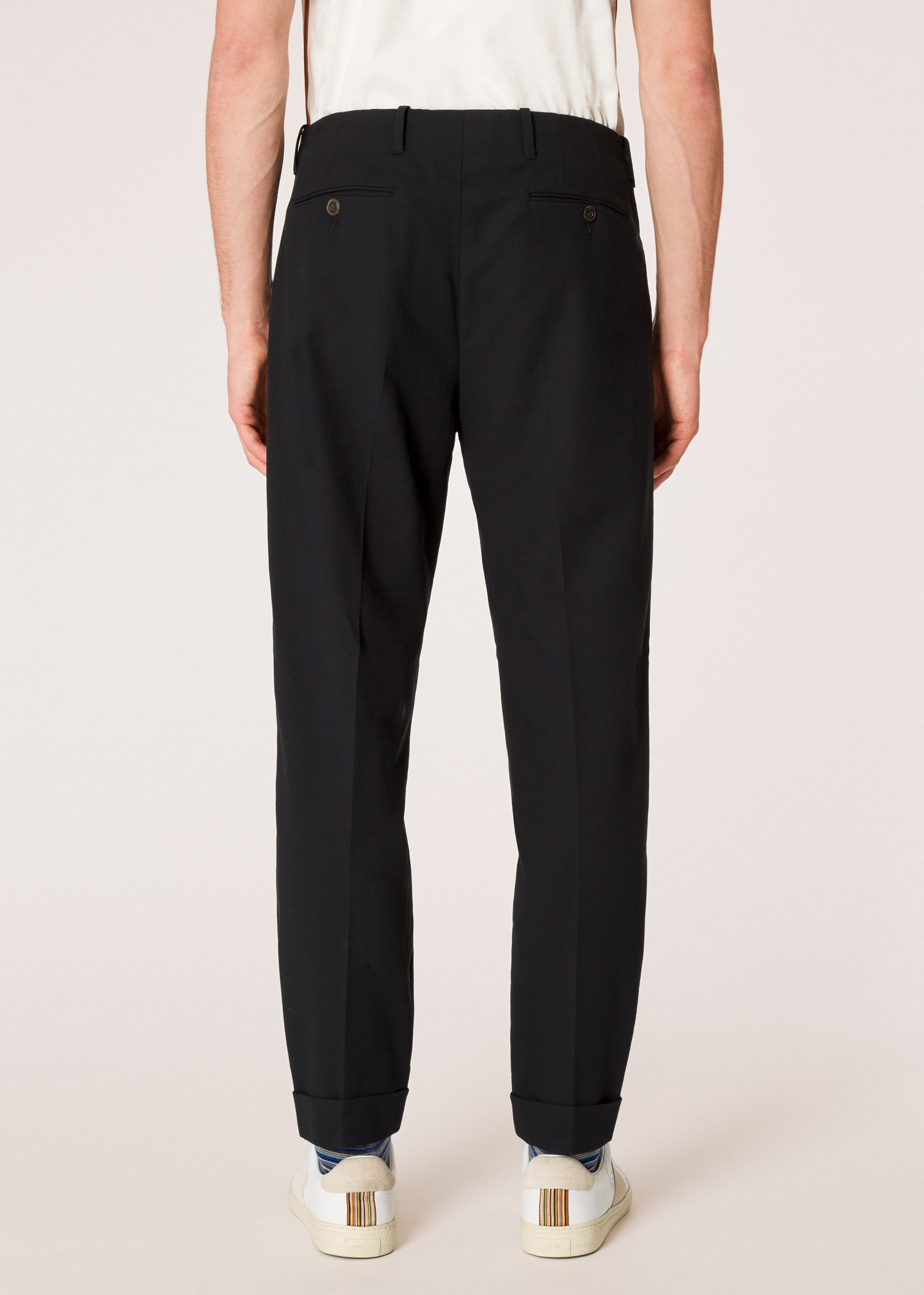 Men S Tapered Fit Black Double Pleated Cotton Trousers Paul Smith