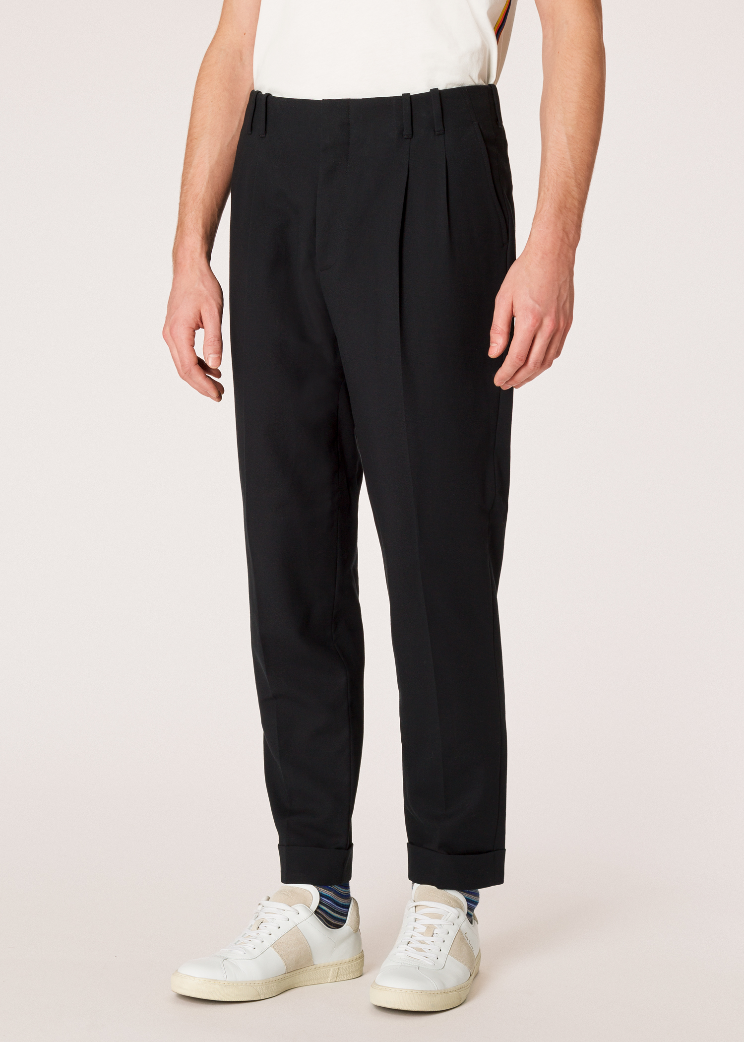 Pantalon Homme Noir Double Plis En Coton Coupe Fuseau - Paul Smith Francais aa066667a2e