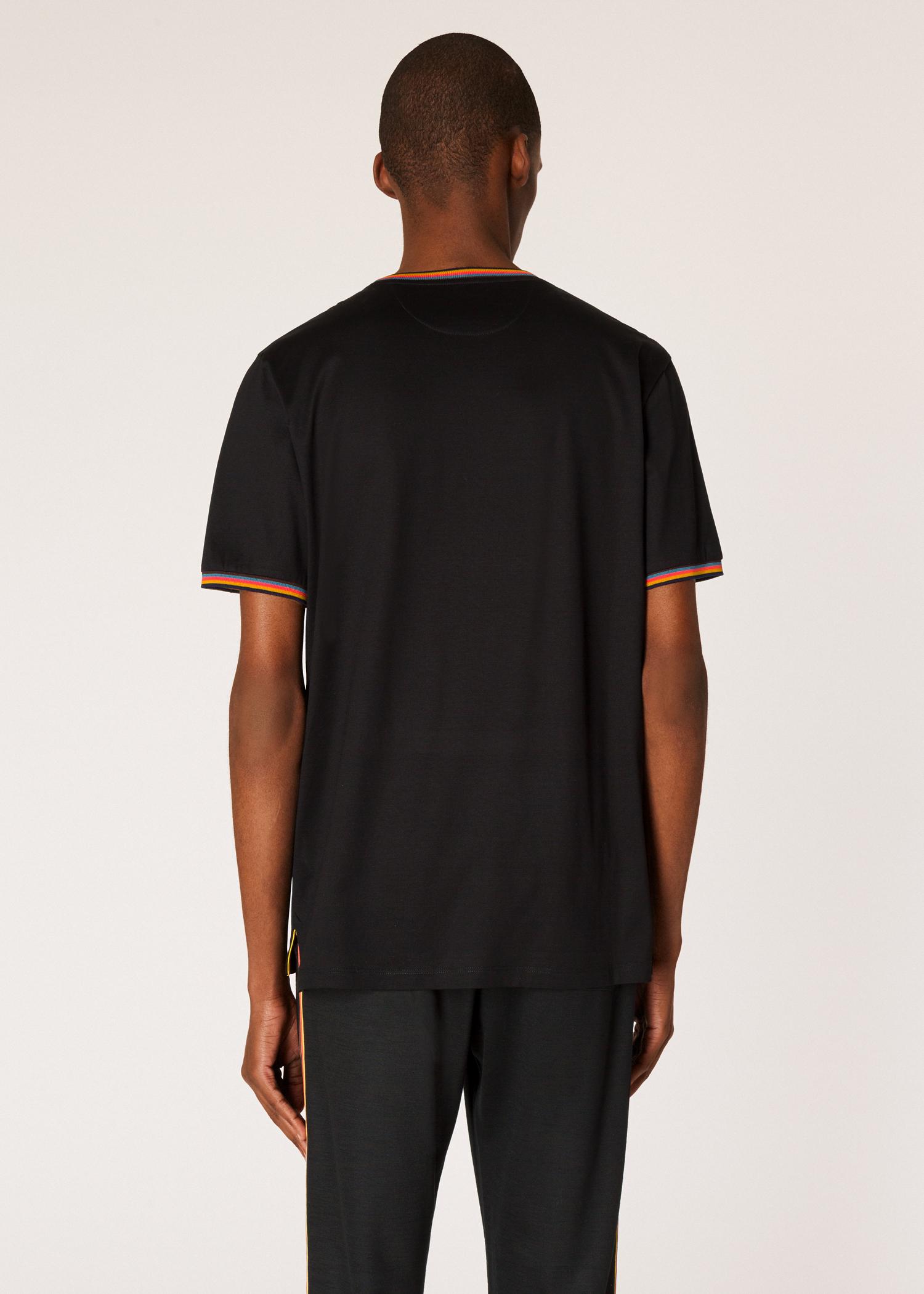 338e21a3 Men's Black Cotton T-Shirt With 'Artist Stripe' Trims - Paul Smith Asia