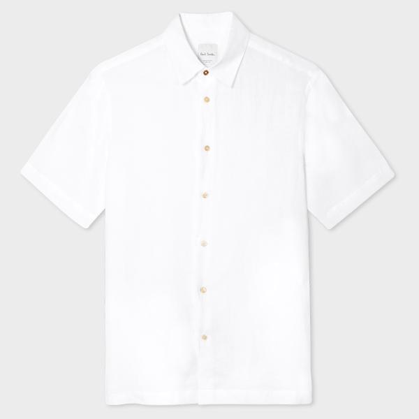 Men's Tailored-Fit White Linen Short-Sleeve Shirt