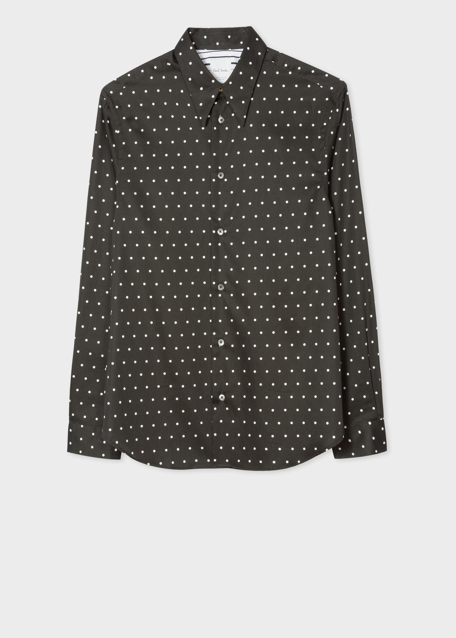 taille 40 e428b cb419 Chemise Homme Noire À Pois Blancs En Coton Coupe Ajustée