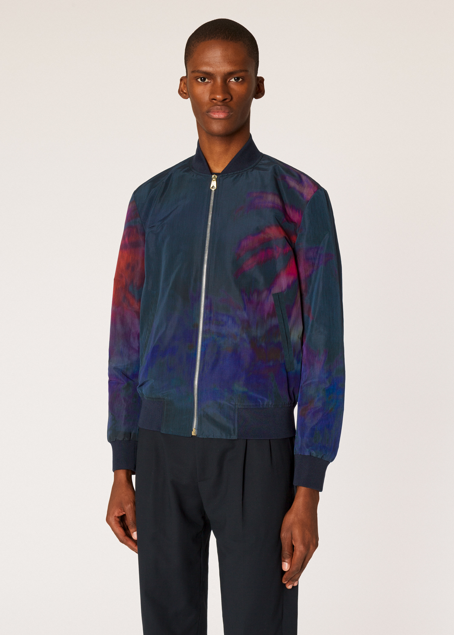 5ed0858ff7f7 Model front close up - Men's 'Paul's Photo' Print Bomber Jacket Paul Smith