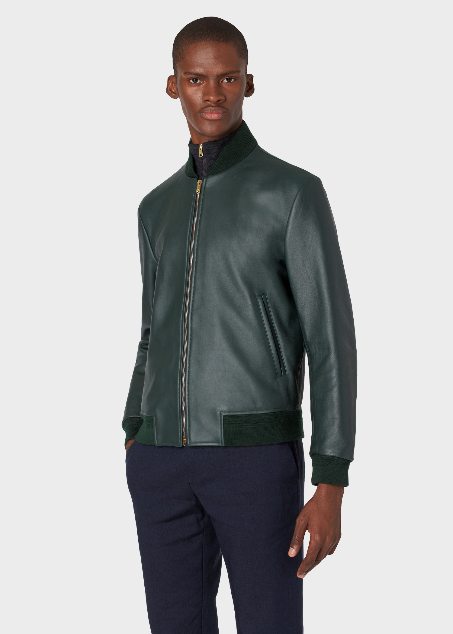266cd6ca8 Men's Dark Green Leather Bomber Jacket With 'Artist Stripe' Lining