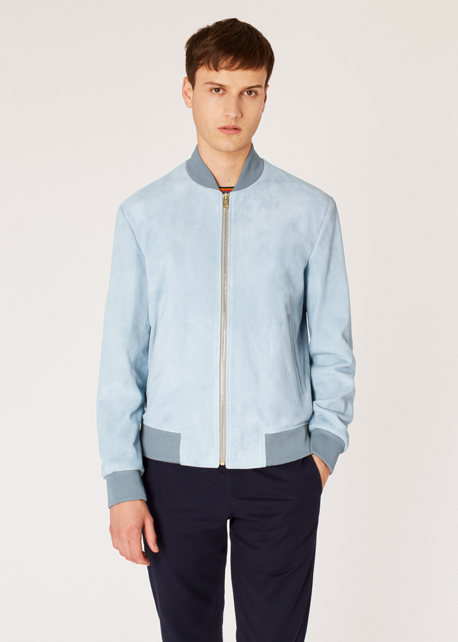 3a2b6660e Men's Light Blue Suede Bomber Jacket With 'Artist Stripe' Cuff Lining