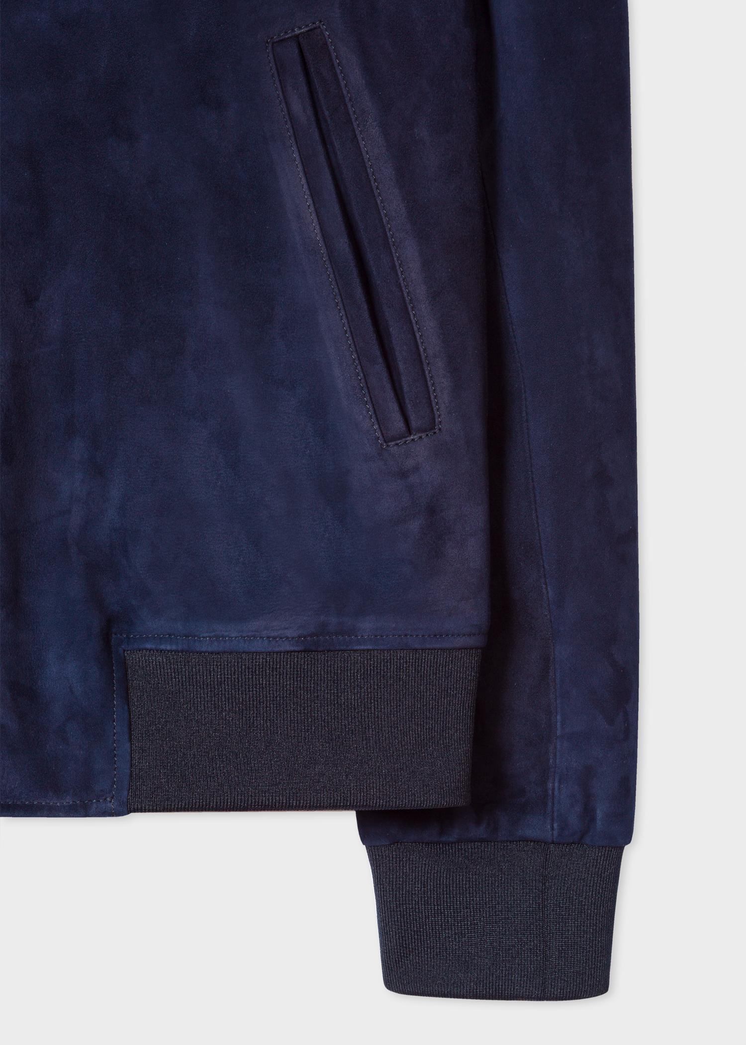 Men S Indigo Suede Bomber Jacket With Artist Stripe Cuff Linings Paul Smith Us