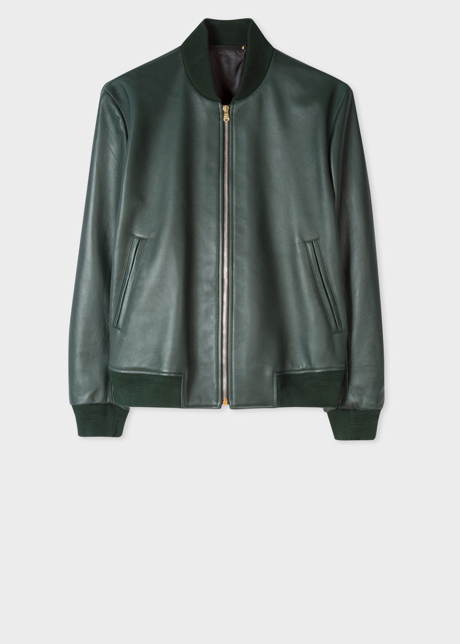 98dfebe44 Men's Dark Green Leather Bomber Jacket With 'Artist Stripe' Lining