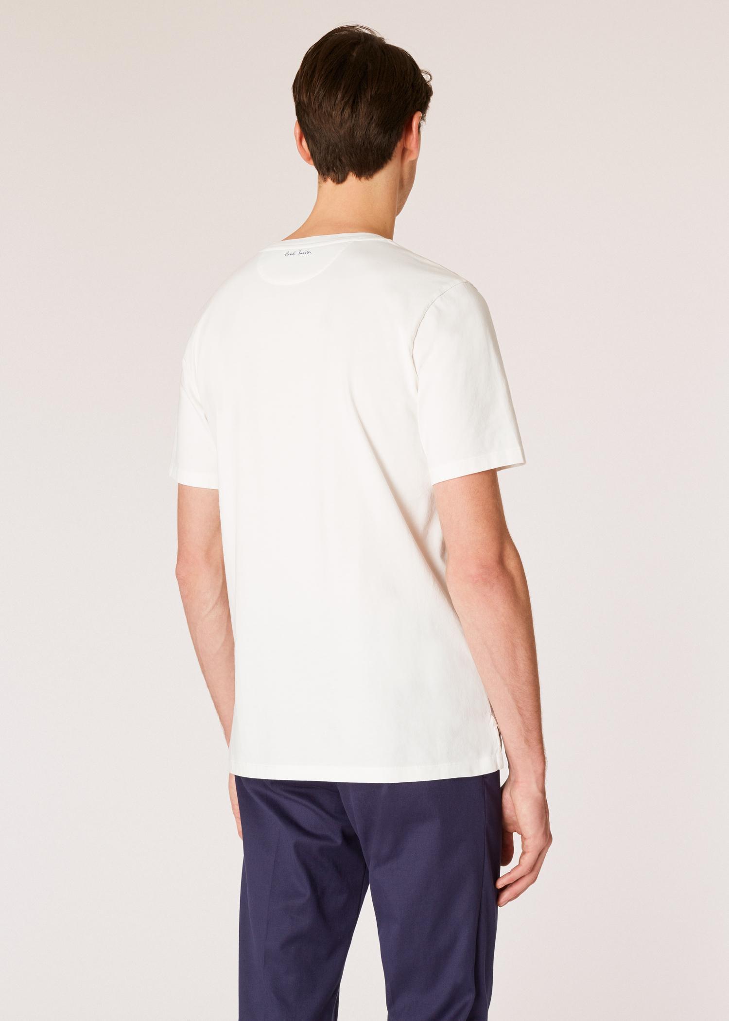 9215e901e Model back close up - Men's White Large 'Precious Stones' Print T-Shirt