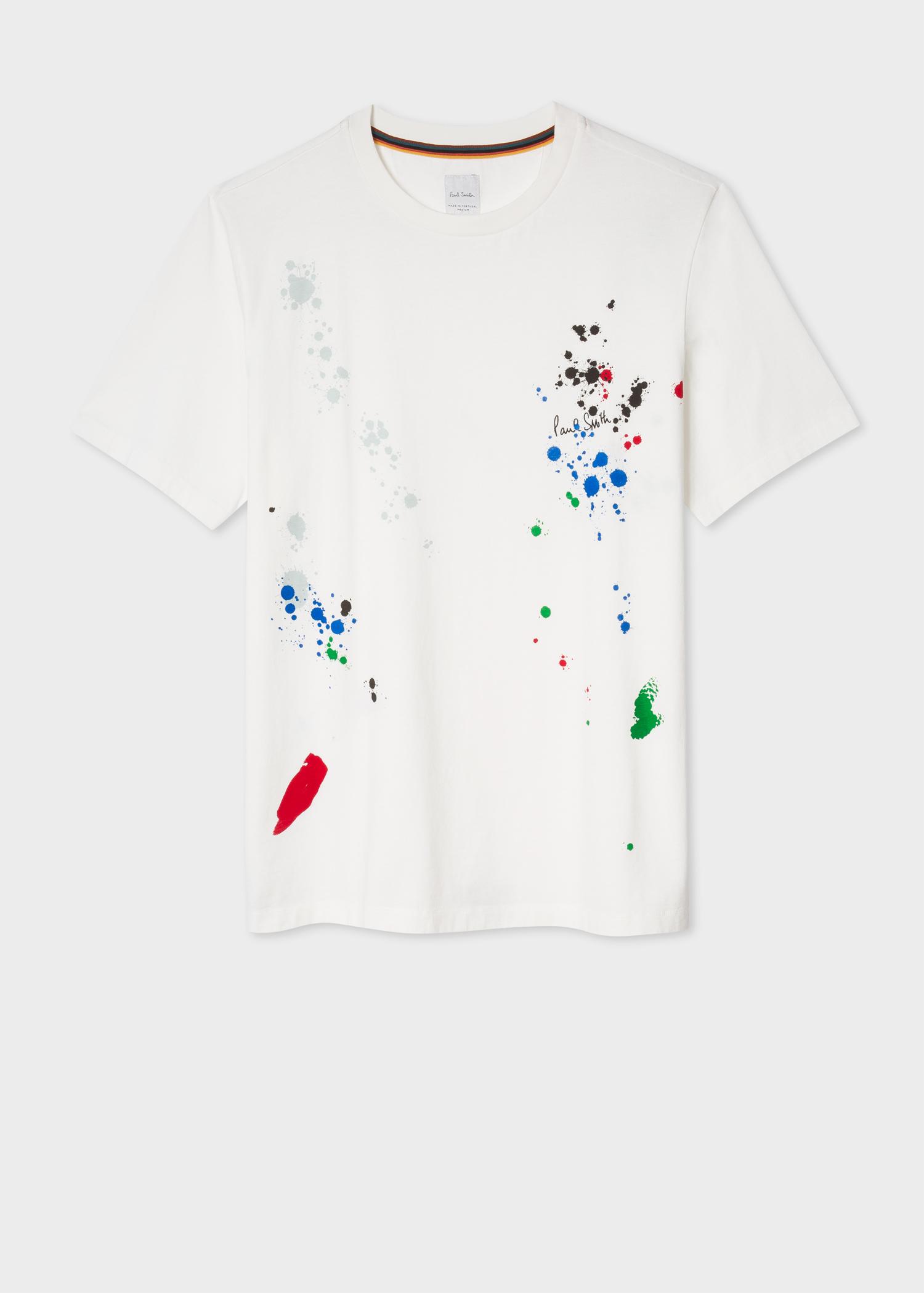 c0c99d68 Front view - Men's White 'Paint Splatter' Print T-Shirt Paul Smith