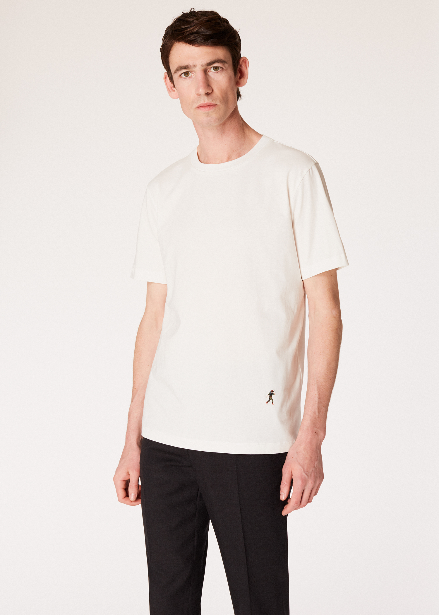 59410ac58 Men's Slim-Fit White T-Shirt With 'People' Motif Embroidery - Paul Smith