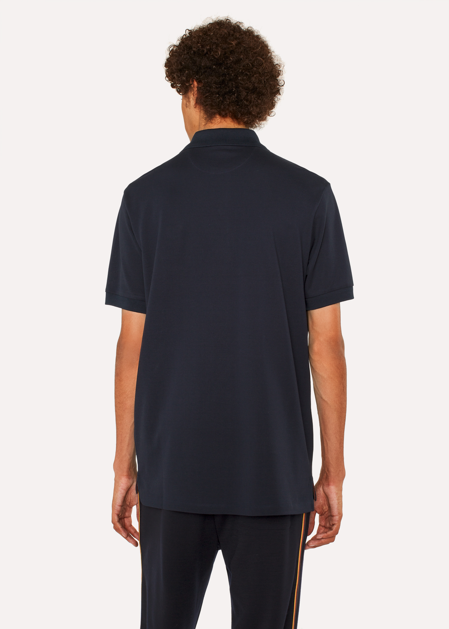 Mens Slim Fit Dark Navy Cotton Piqu Polo Shirt With Embroidered