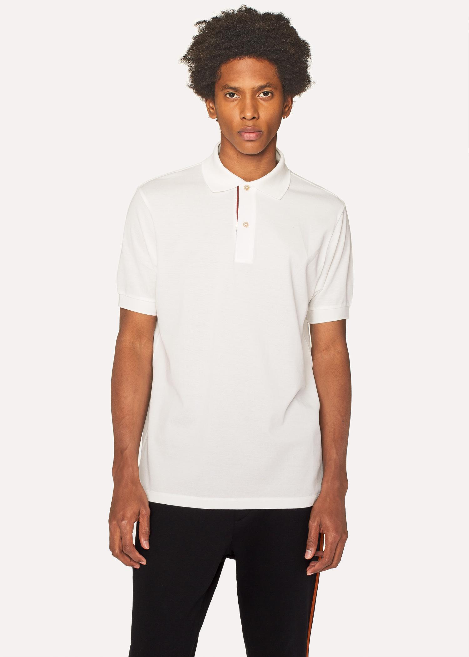 Mens Slim Fit White Cotton Piqu Polo Shirt With Artist Stripe