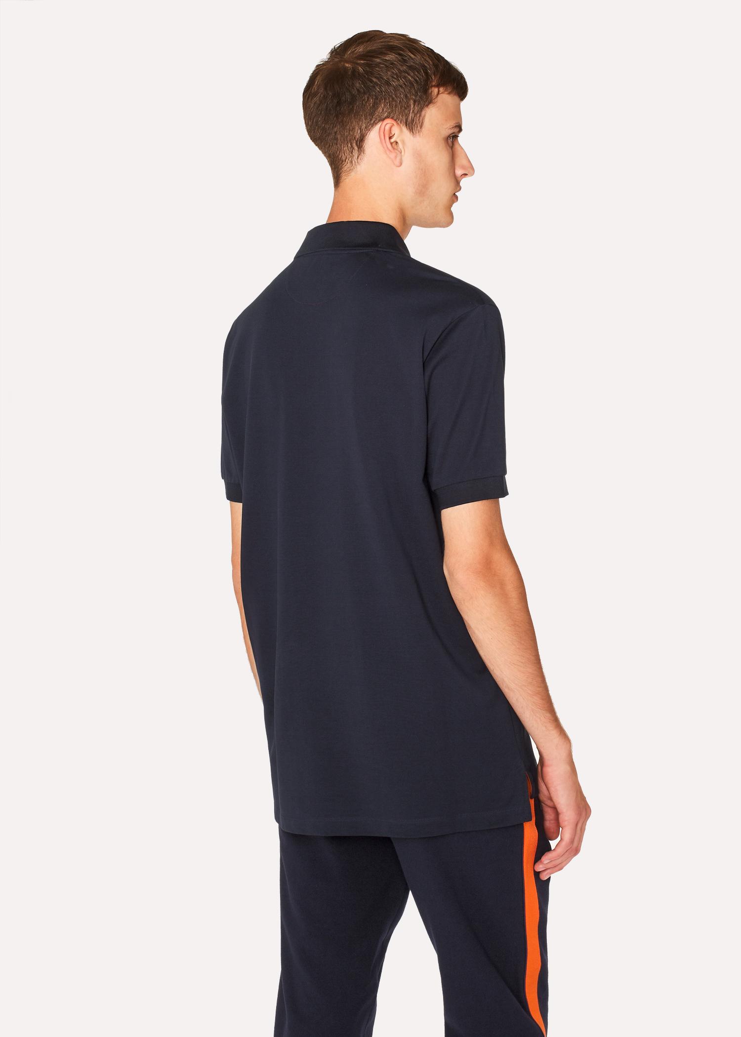 Mens Slim Fit Navy Cotton Piqu Polo Shirt With Artist Stripe