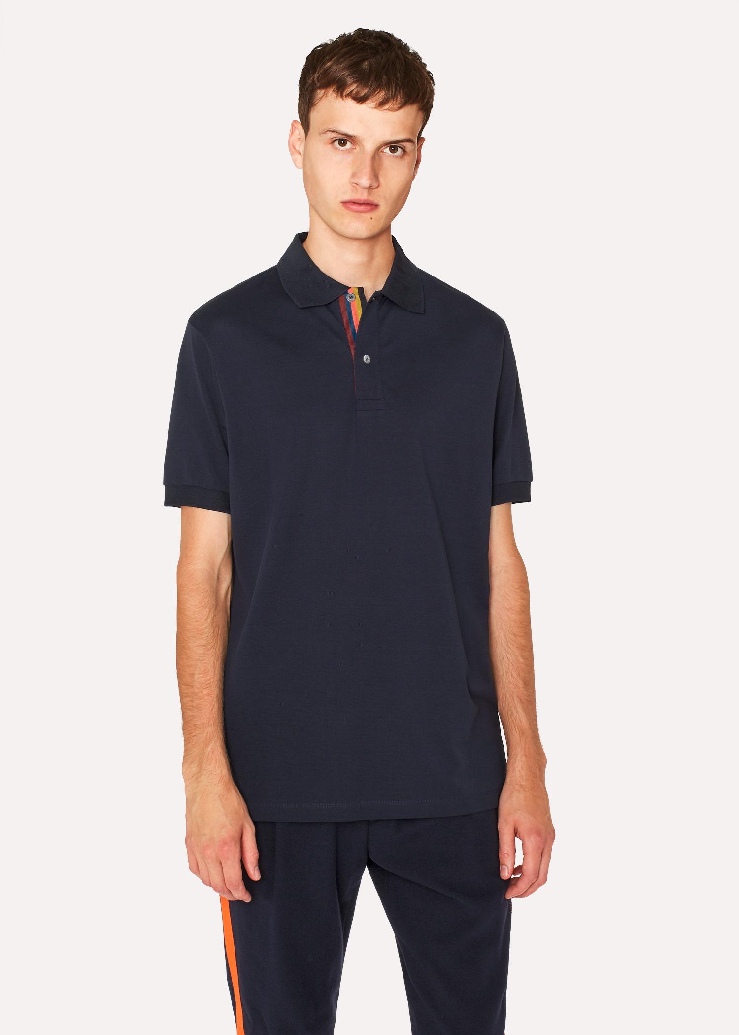 4c891228 Men's Slim-Fit Navy Cotton-Piqué Polo Shirt With 'Artist Stripe' Placket