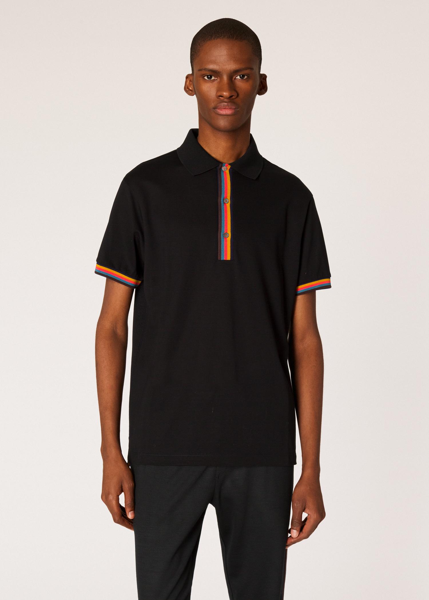 20d9da47a77 Men's Slim-Fit Black Cotton-Piqué Polo Shirt With 'Artist Stripe' Details