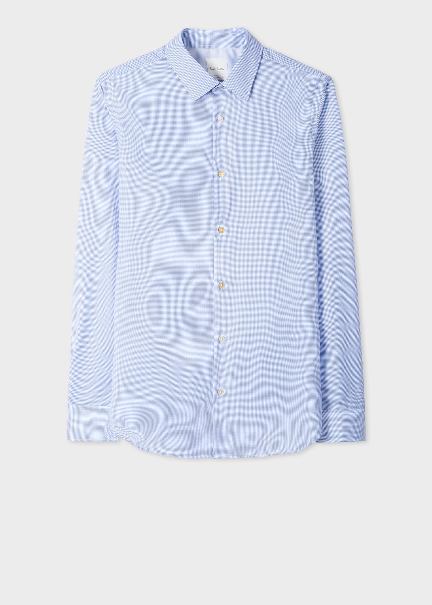 y contraste algodón de con puño Tailored blanco color para Fit a Camisa azul cuadros de de de en Tailored hombre algodón UTOW8R