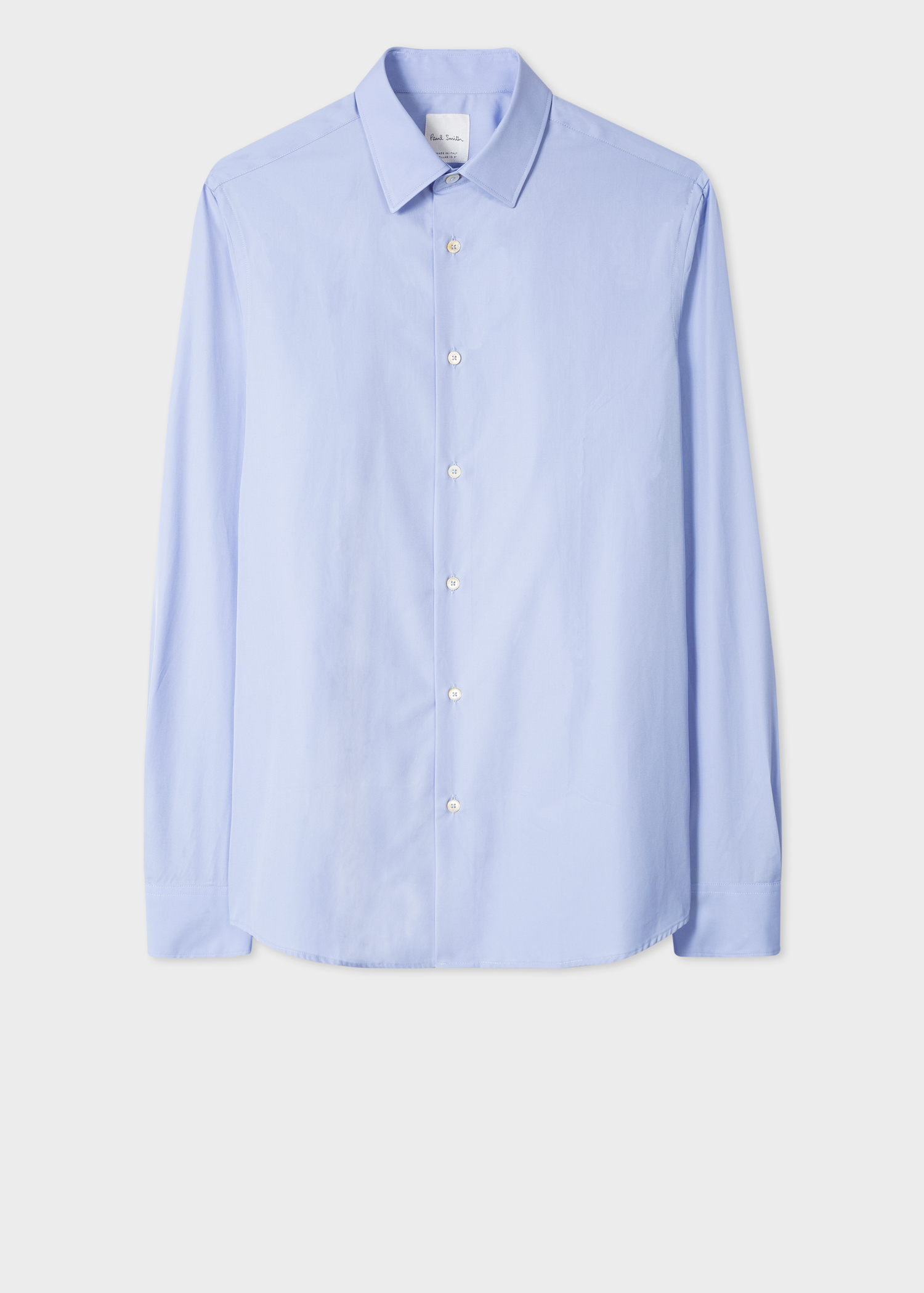 4d54abc17 Front view - Men's Tailored-Fit Sky Blue Cotton Shirt With 'Signature  Stripe'