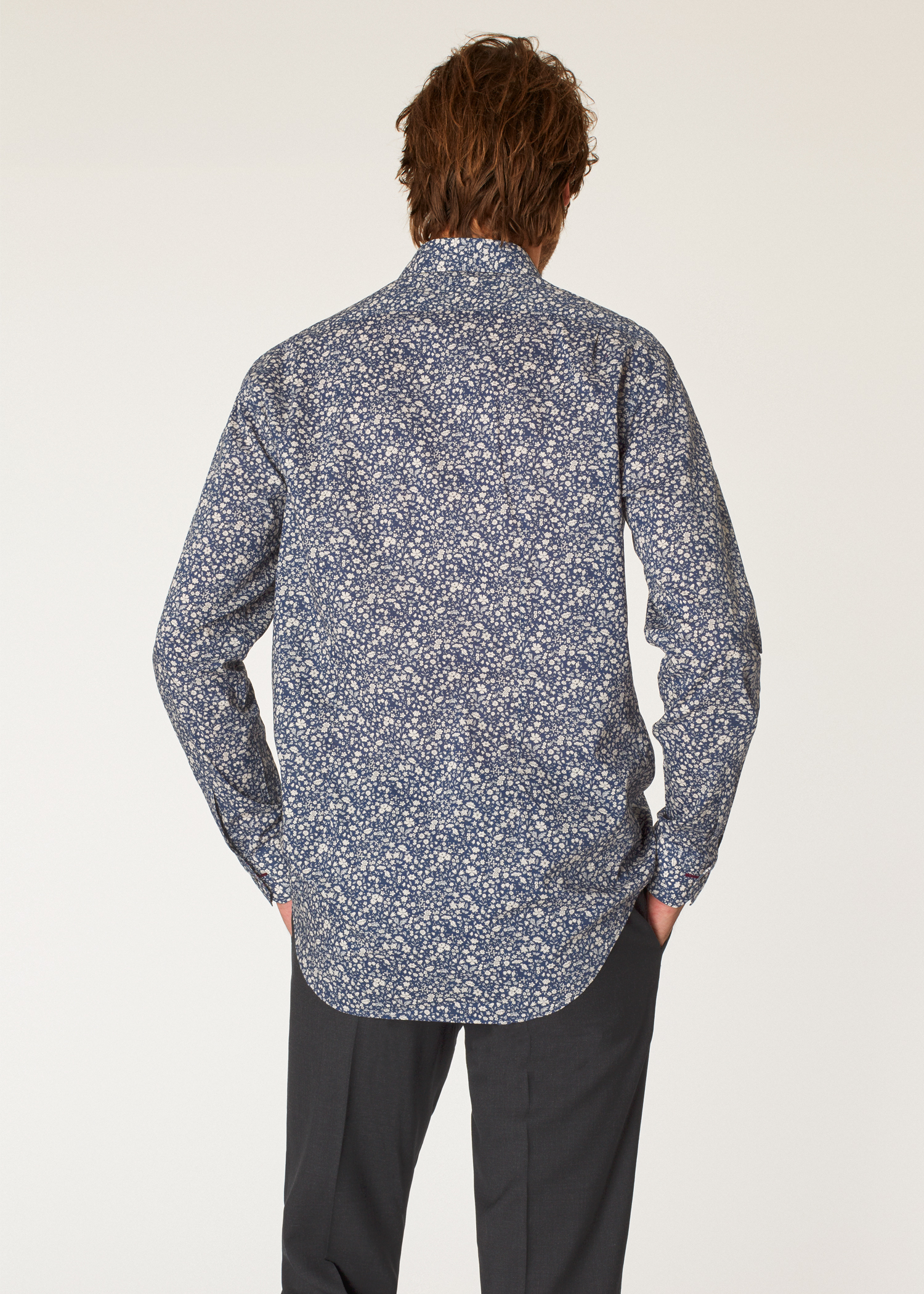 40cb5248456 Model back close up- Men s Tailored-Fit Navy Liberty Floral Print Shirt  Paul Smith