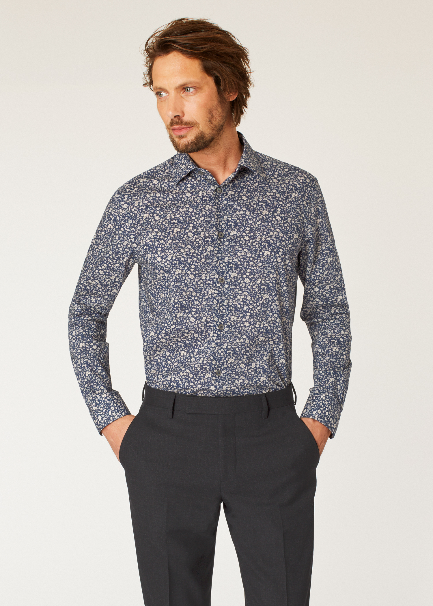 df9fe19d89e Model front close up- Men s Tailored-Fit Navy Liberty Floral Print Shirt  Paul Smith