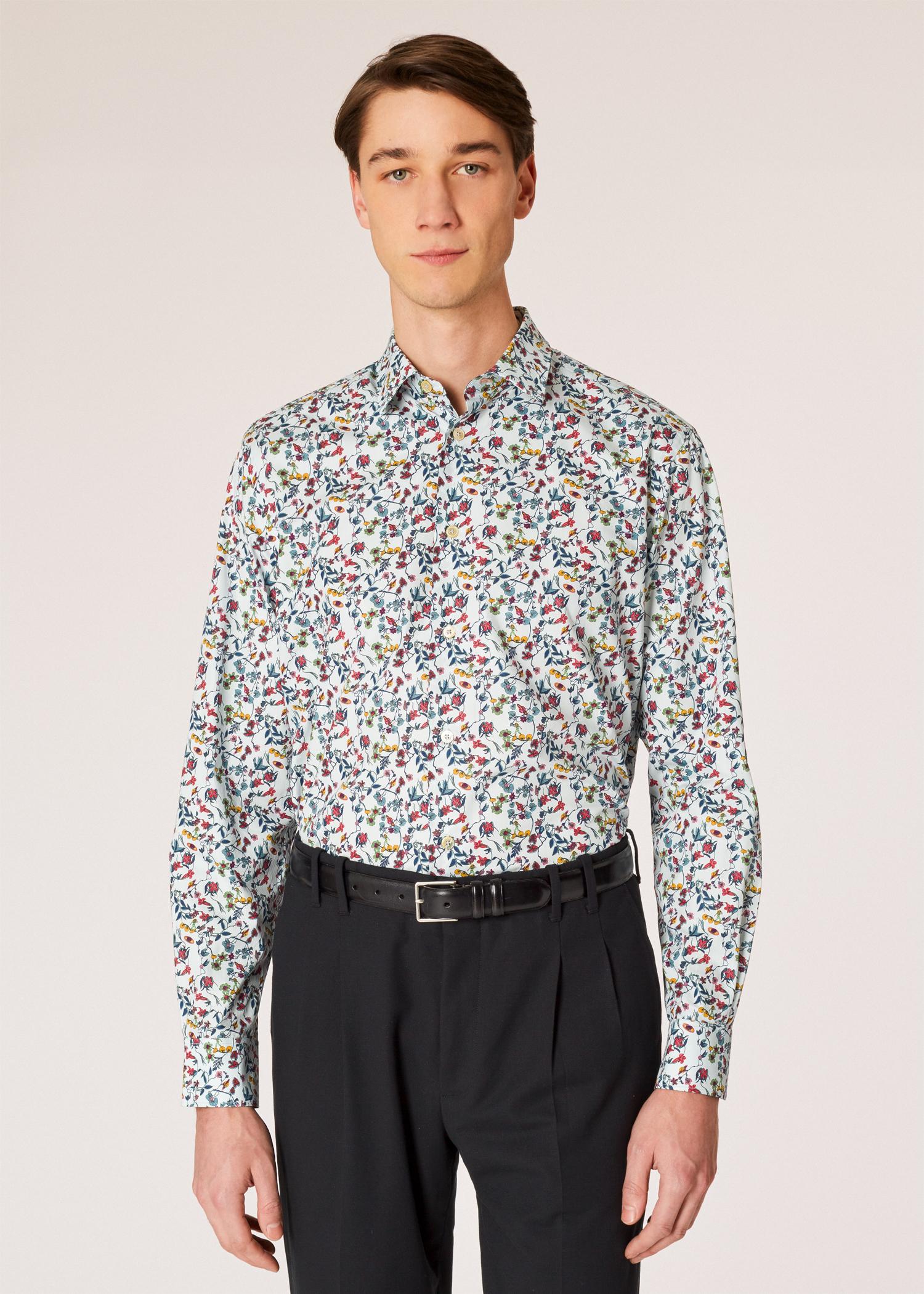 d0b70078c9a650 Model front close up - Men's Classic-Fit 'Explorer Floral' Print Shirt With