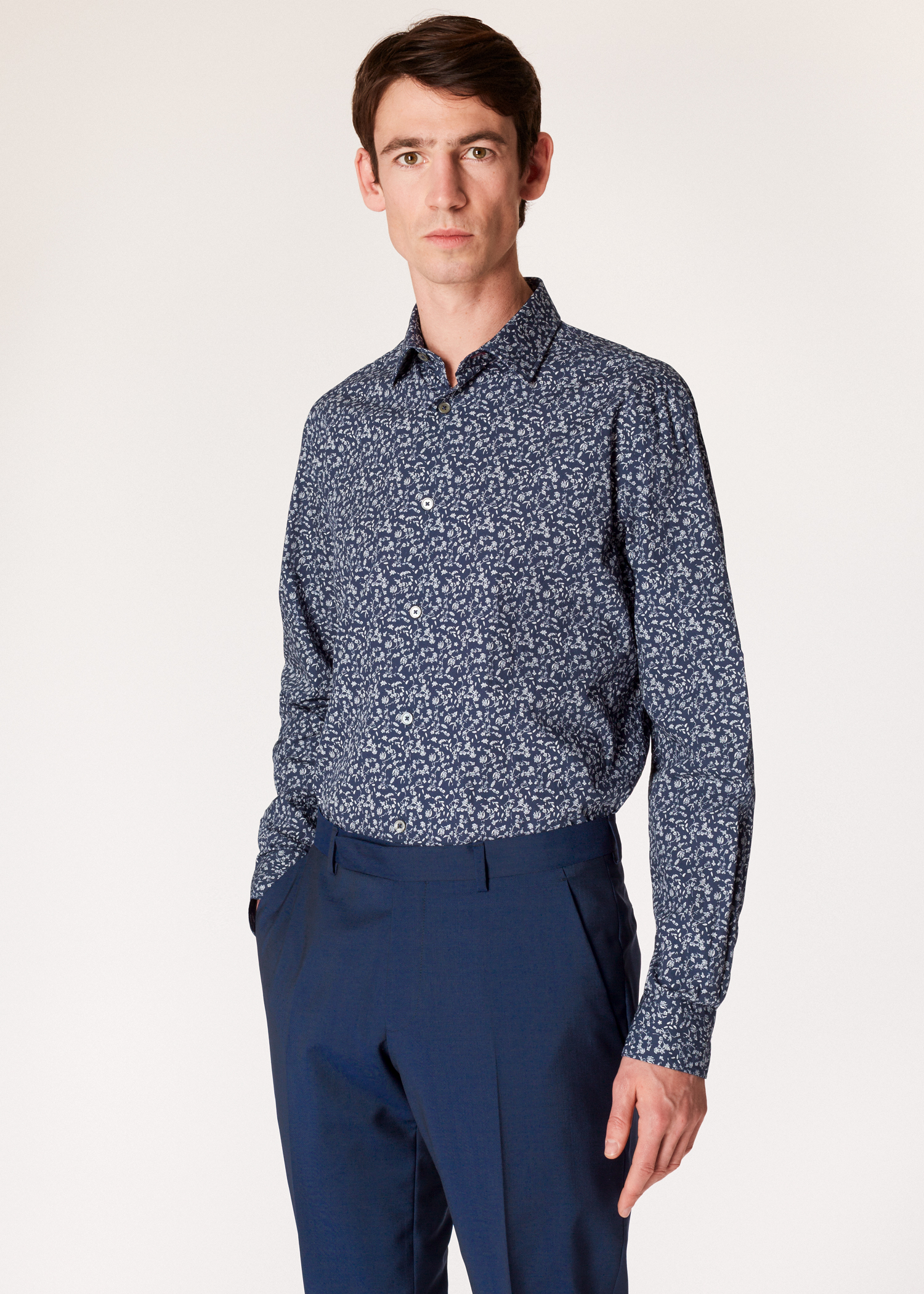 181eb7a3f7bf Model front close up- Men s Navy  Ditsy Floral  Print Cotton Shirt With  Contrasting