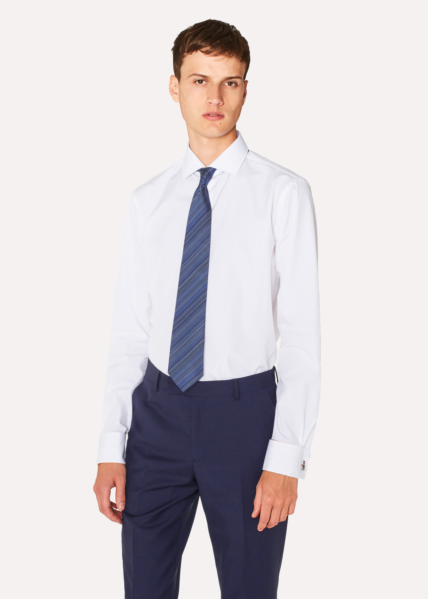 Mens Tailored Fit White Signature Stripe Double Cuff Shirt Paul
