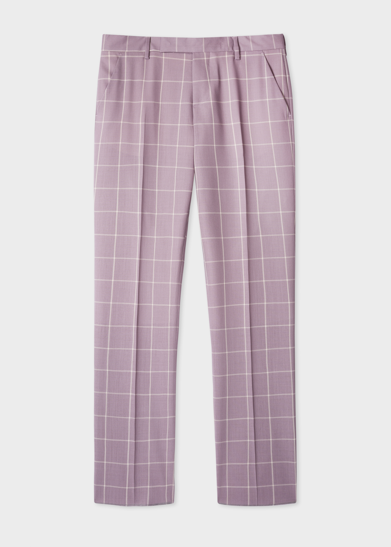 b052f34fc8 Front view - Men s Slim-Fit Mauve Windowpane Check Loro Piana Wool Trousers  Paul Smith