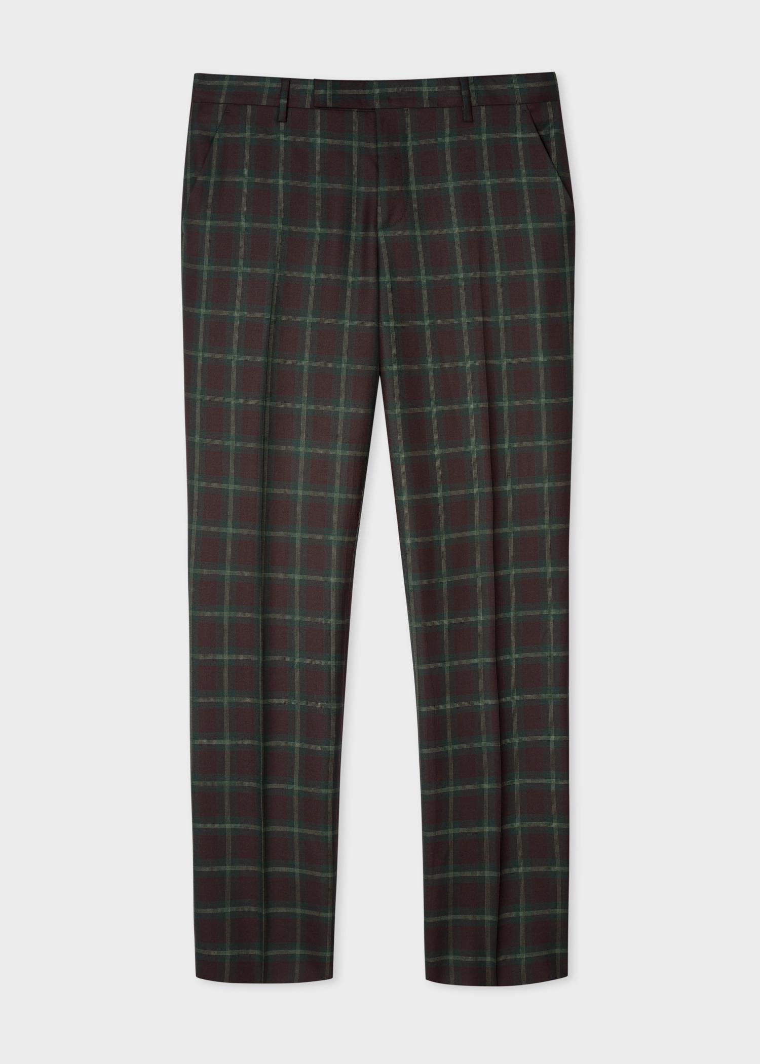 Pantalon Carreaux Tartan Laine Homme En Verts À Coupe Slim Aj53R4Lq