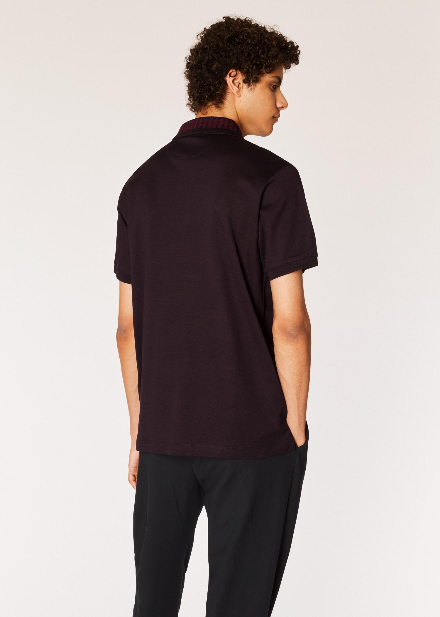 7532c9aad39e Model back close up - Men's Slim-Fit Dark Brown Cotton-Piqué Polo Shirt