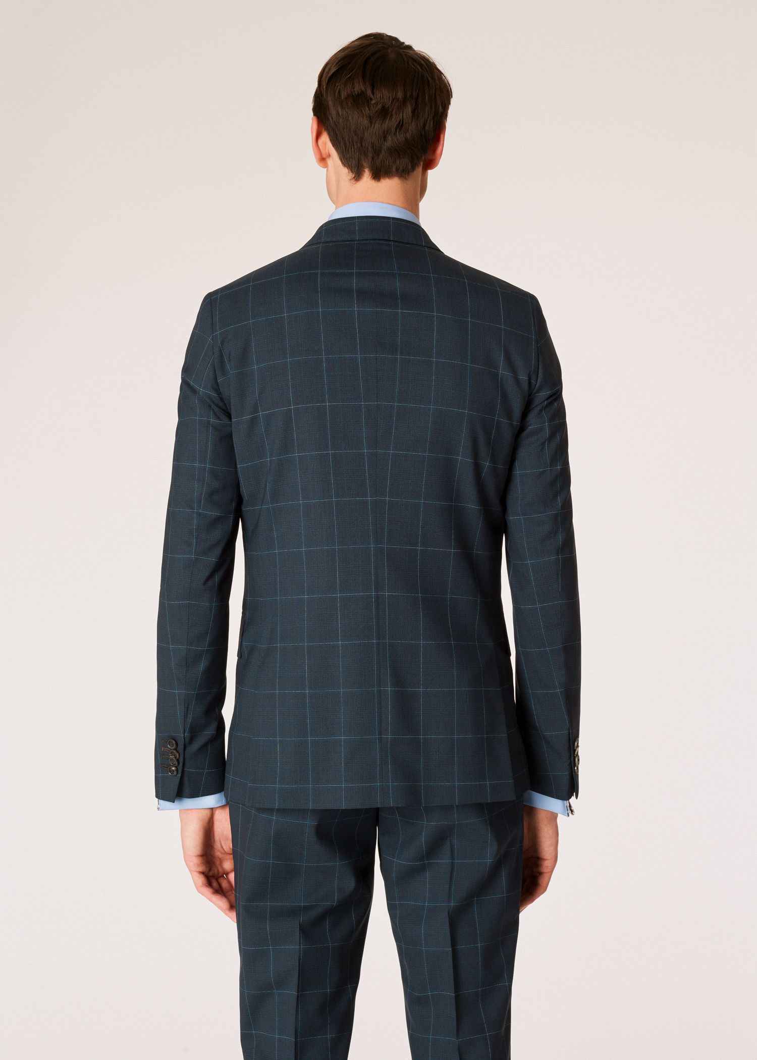 e8715861c46838 Model back blazer view - Men's Slim-Fit Dark Navy Check Wool Suit Paul Smith