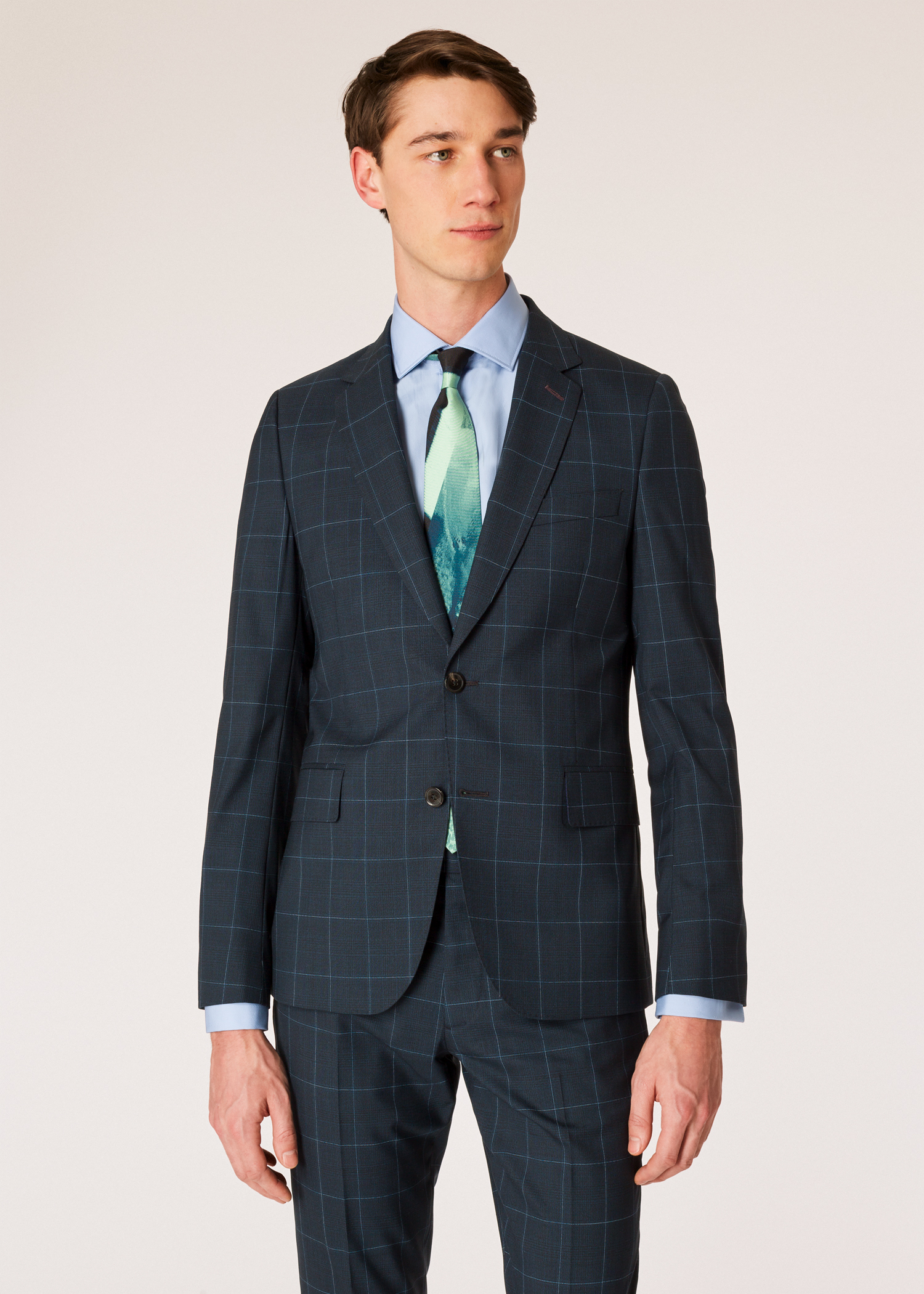 0974412e06368d Model front blazer view - Men's Slim-Fit Dark Navy Check Wool Suit Paul  Smith