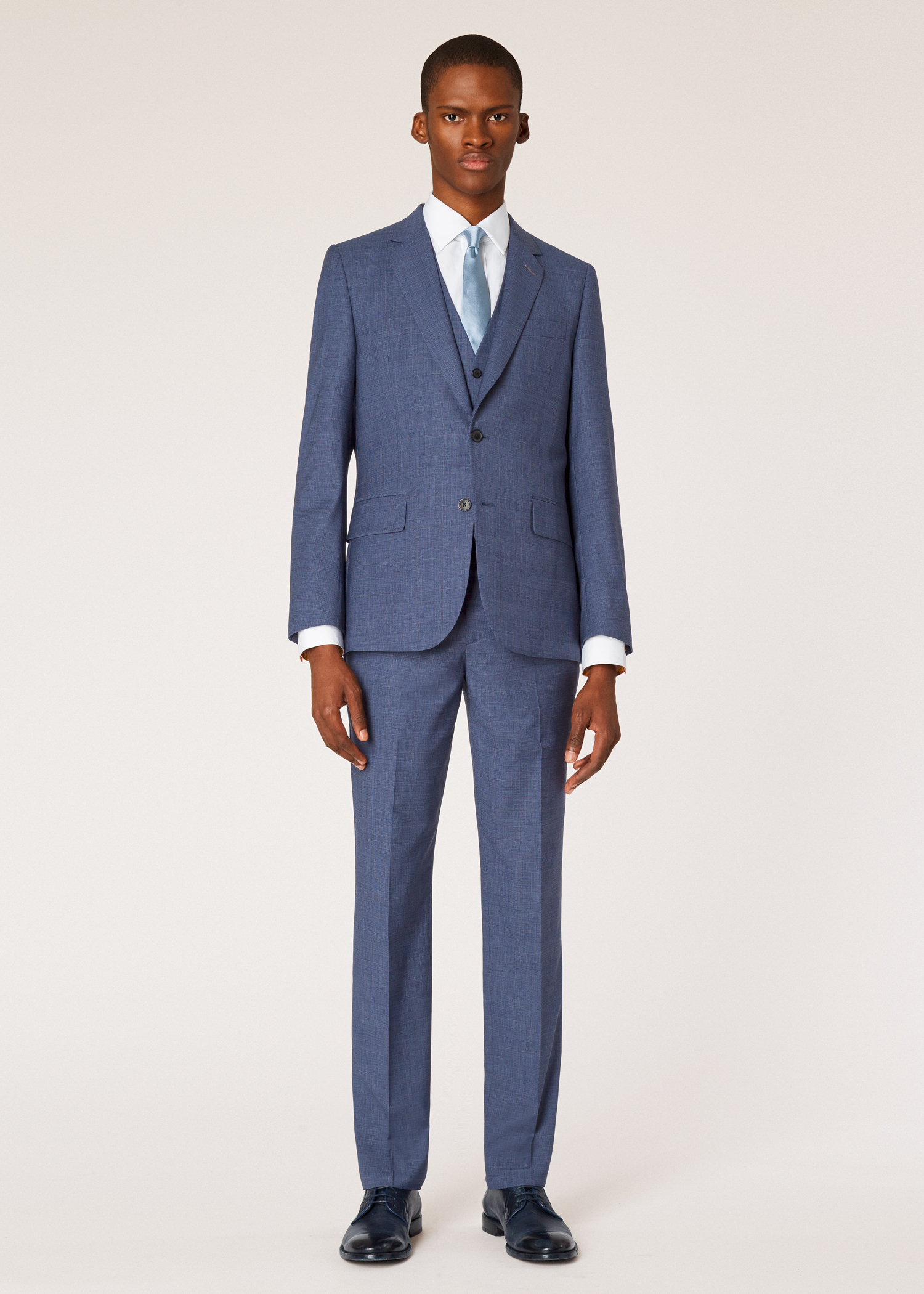 71156bfe4 Model front view - The Soho - Men's Tailored-Fit Slate Blue Check Three-