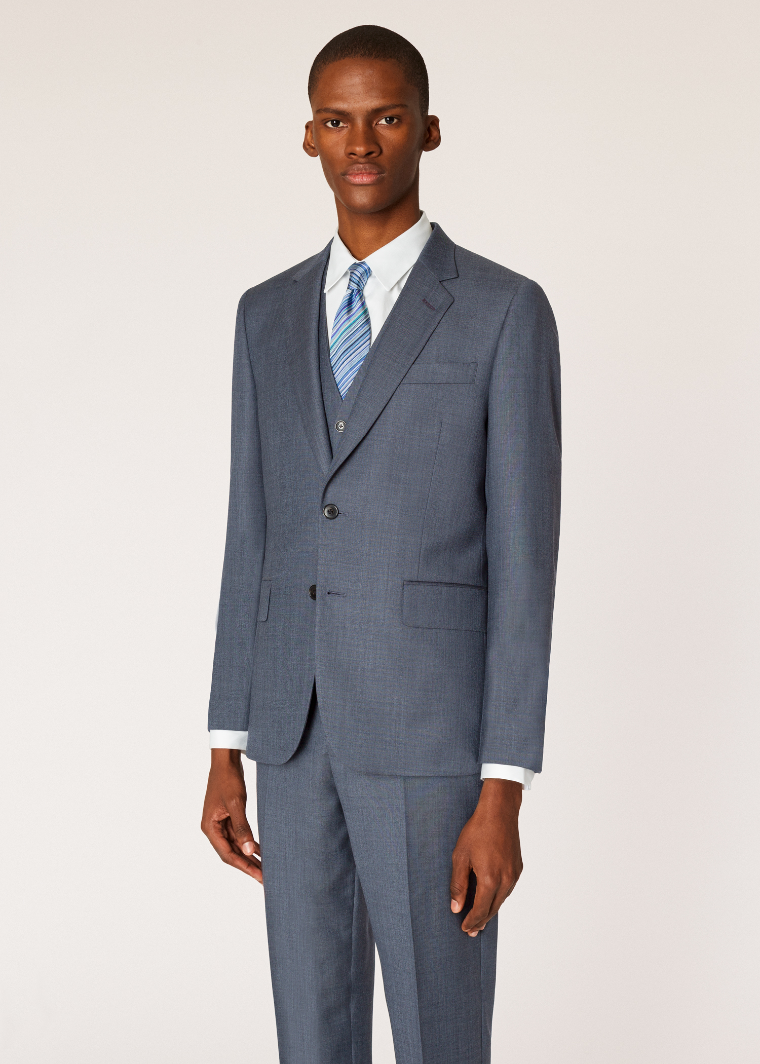 69fcf7e8238 Model front blazer view - The Soho - Men's Tailored-Fit Dark Grey Three-