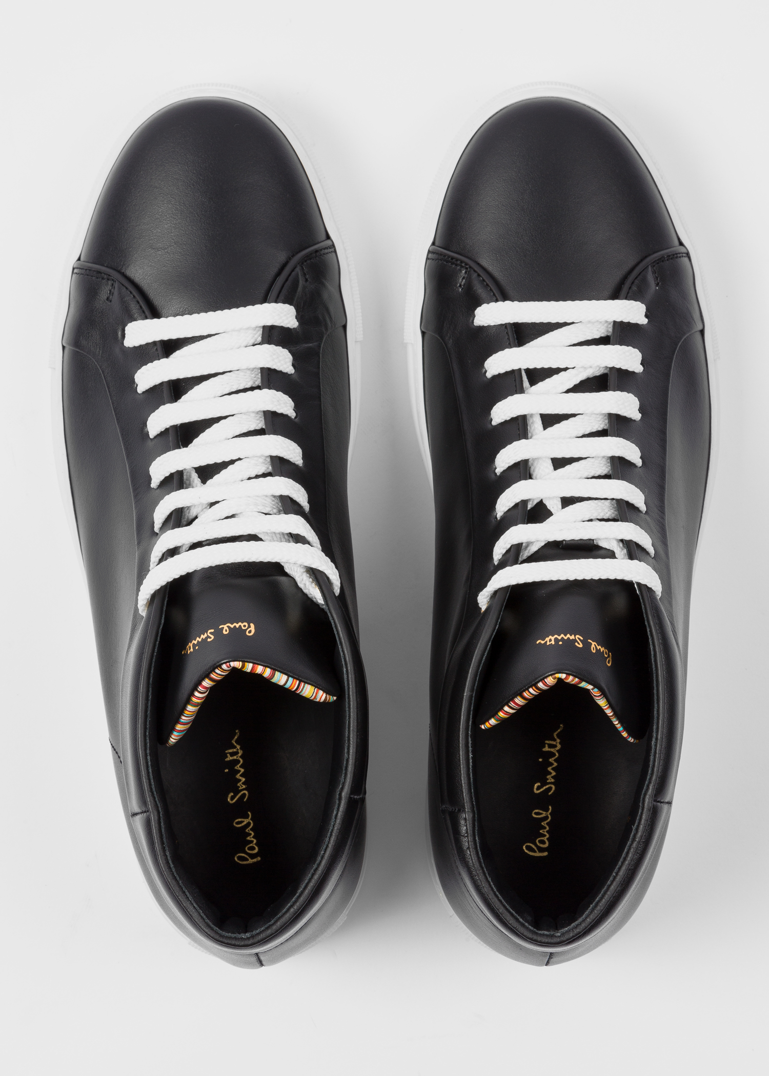 ddd816d4c Front view - Men's Black Leather 'Ace' High-Top Trainers Paul Smith