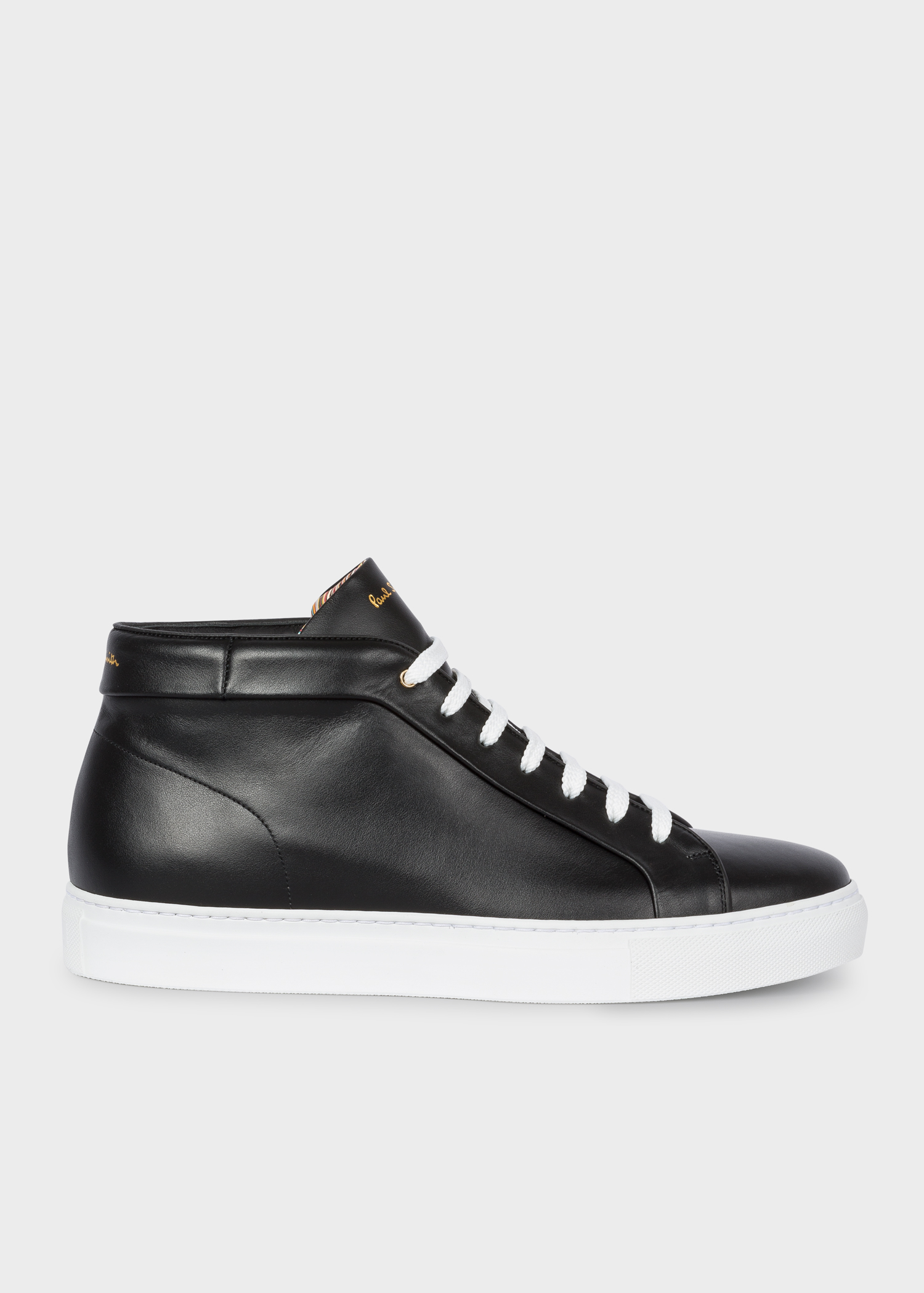dfbb1e3f4 Side view - Men's Black Leather 'Ace' High-Top Trainers Paul Smith