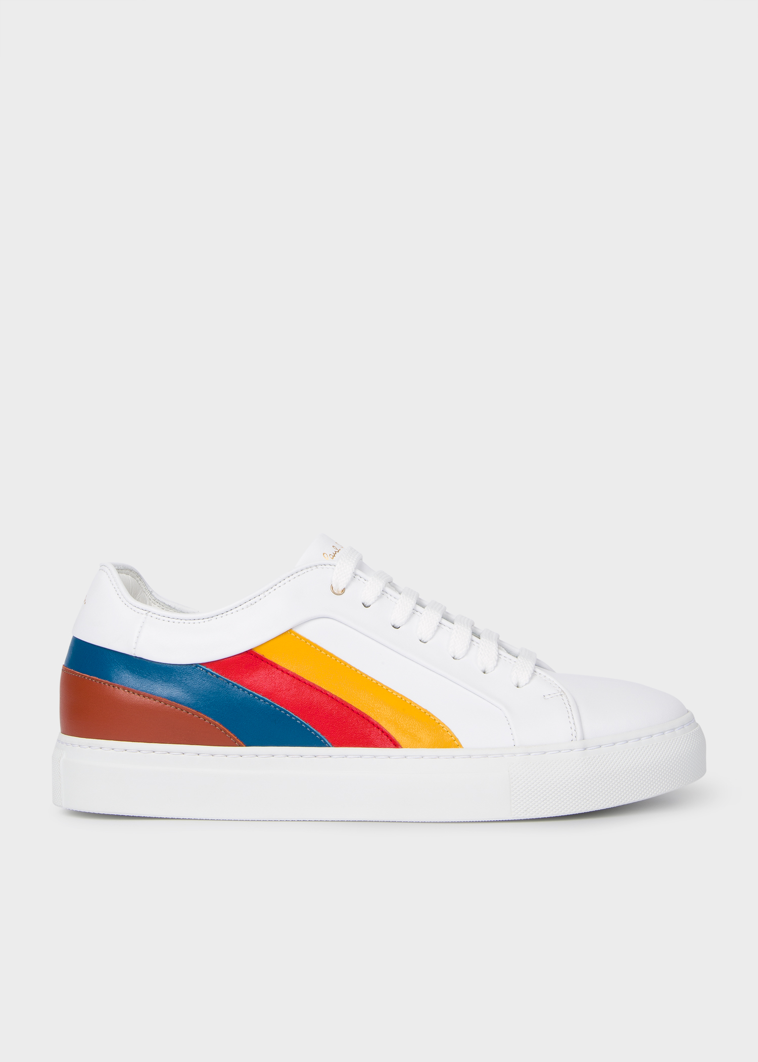54f96d5a1e Men's White Leather 'Basso' Sneakers With Multi-Coloured Panels ...
