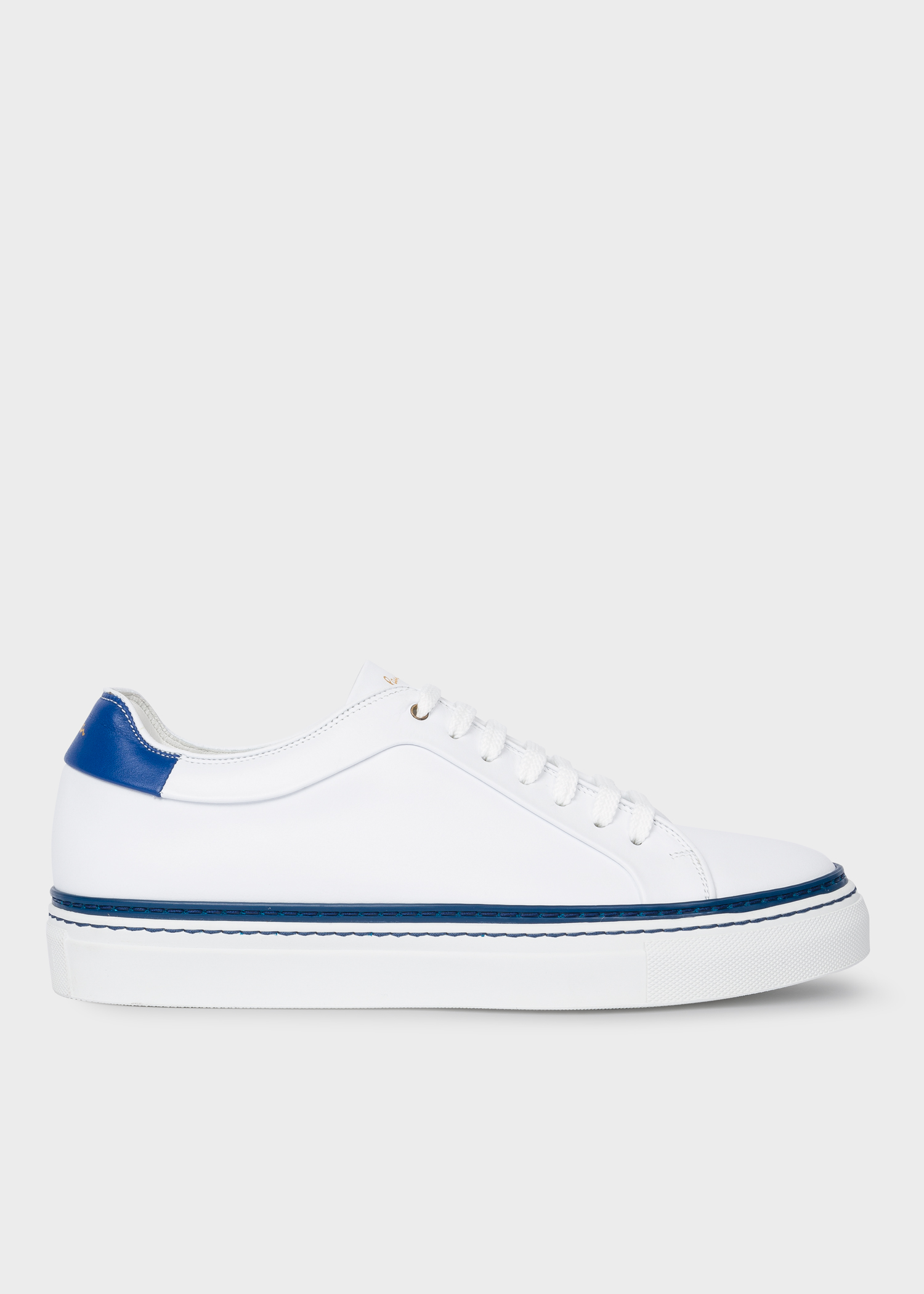 92b912dc7a5 Side view - Men's White Leather 'Basso' Trainers With Blue Details Paul  Smith