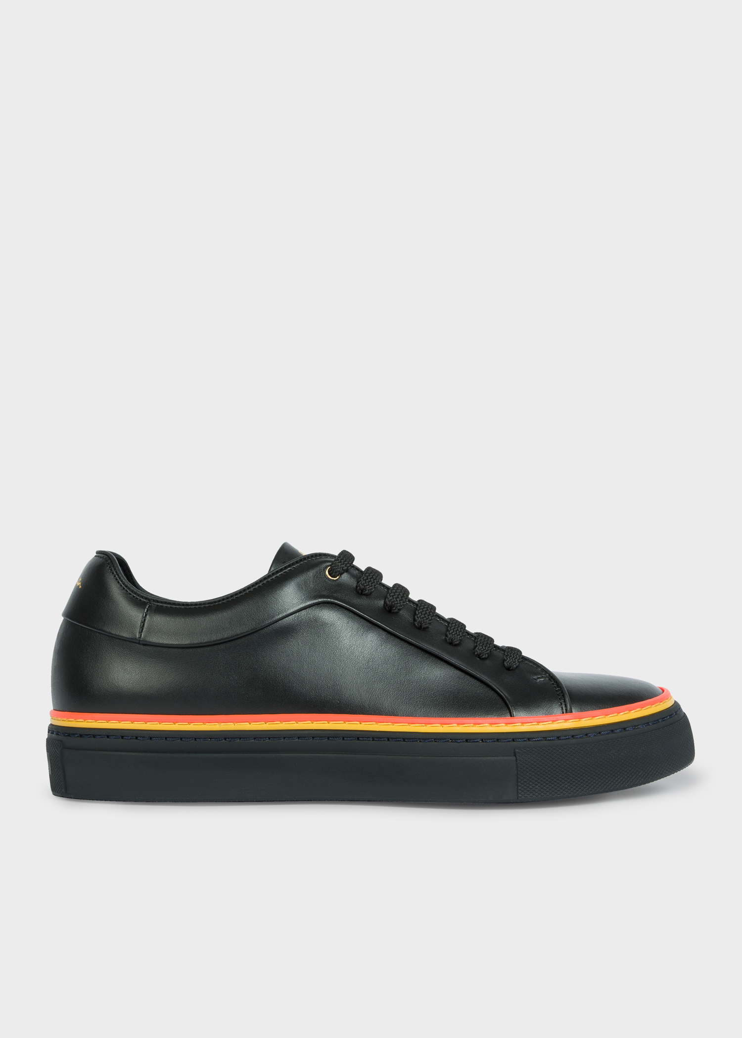 e8839bcc69f Side view - Men's Black Leather 'Basso' Trainers With Orange And Yellow Details  Paul