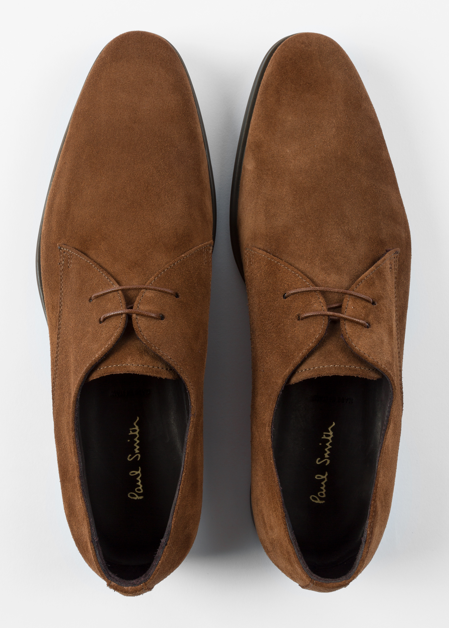 Men S Tan Suede Coney Derby Shoes Paul Smith