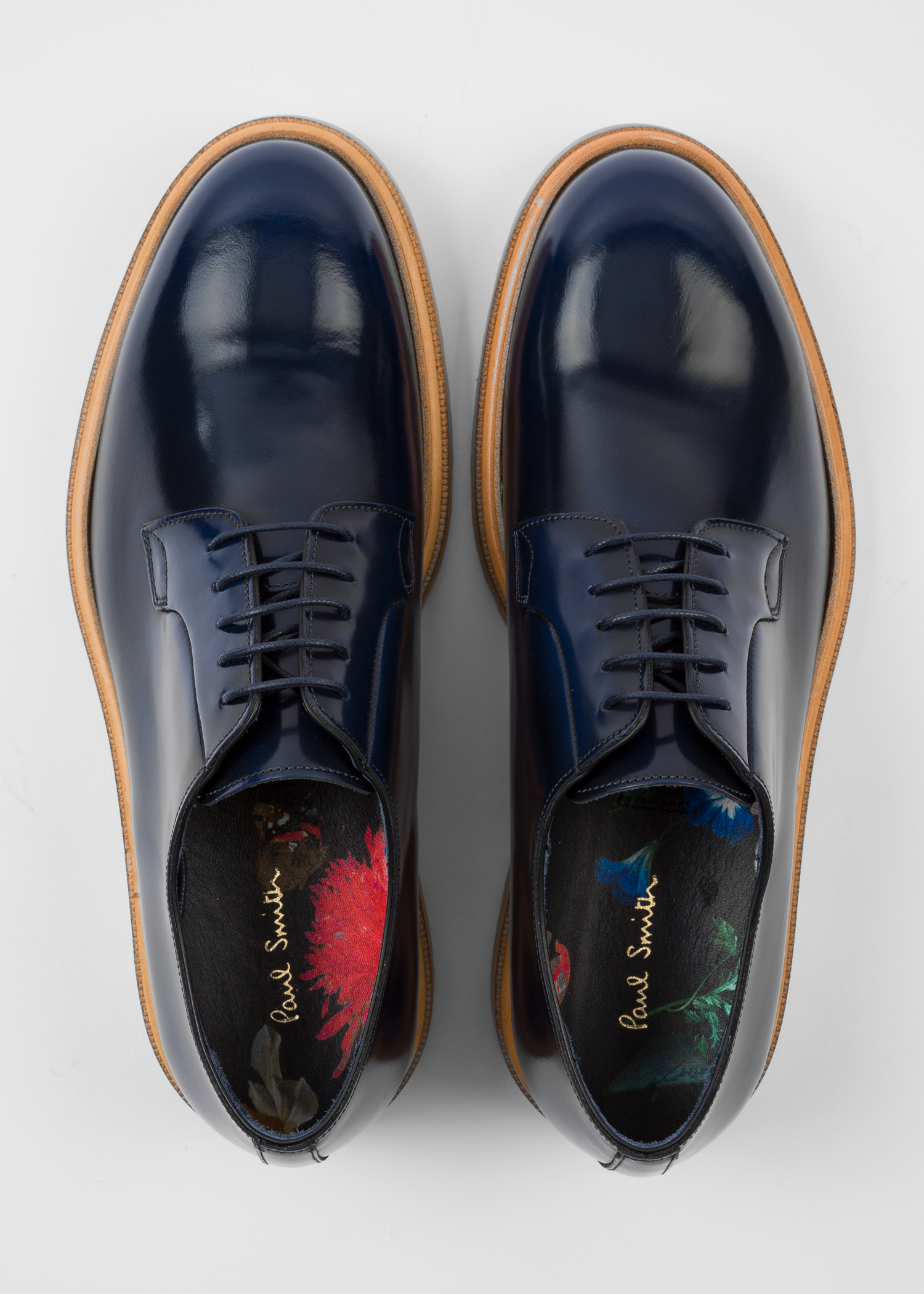 Men S Navy High Shine Leather Edward Shoes Paul Smith