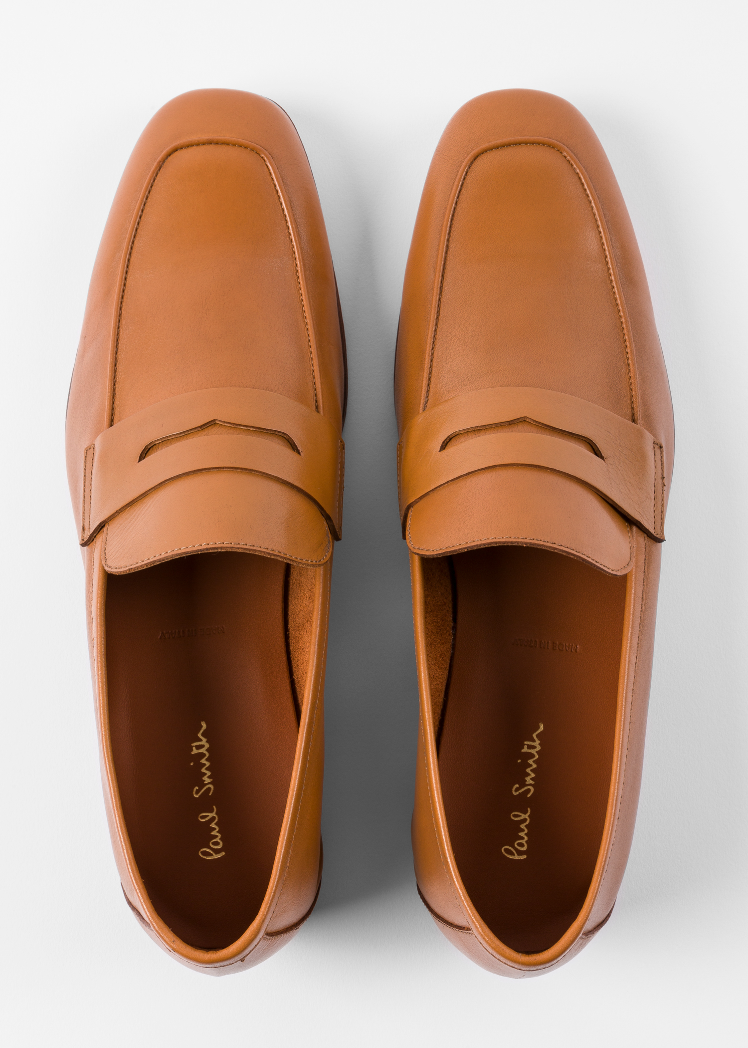 b09eb63ff54 Men s Tan Smooth Leather  Glynn  Penny Loafers - Paul Smith Asia