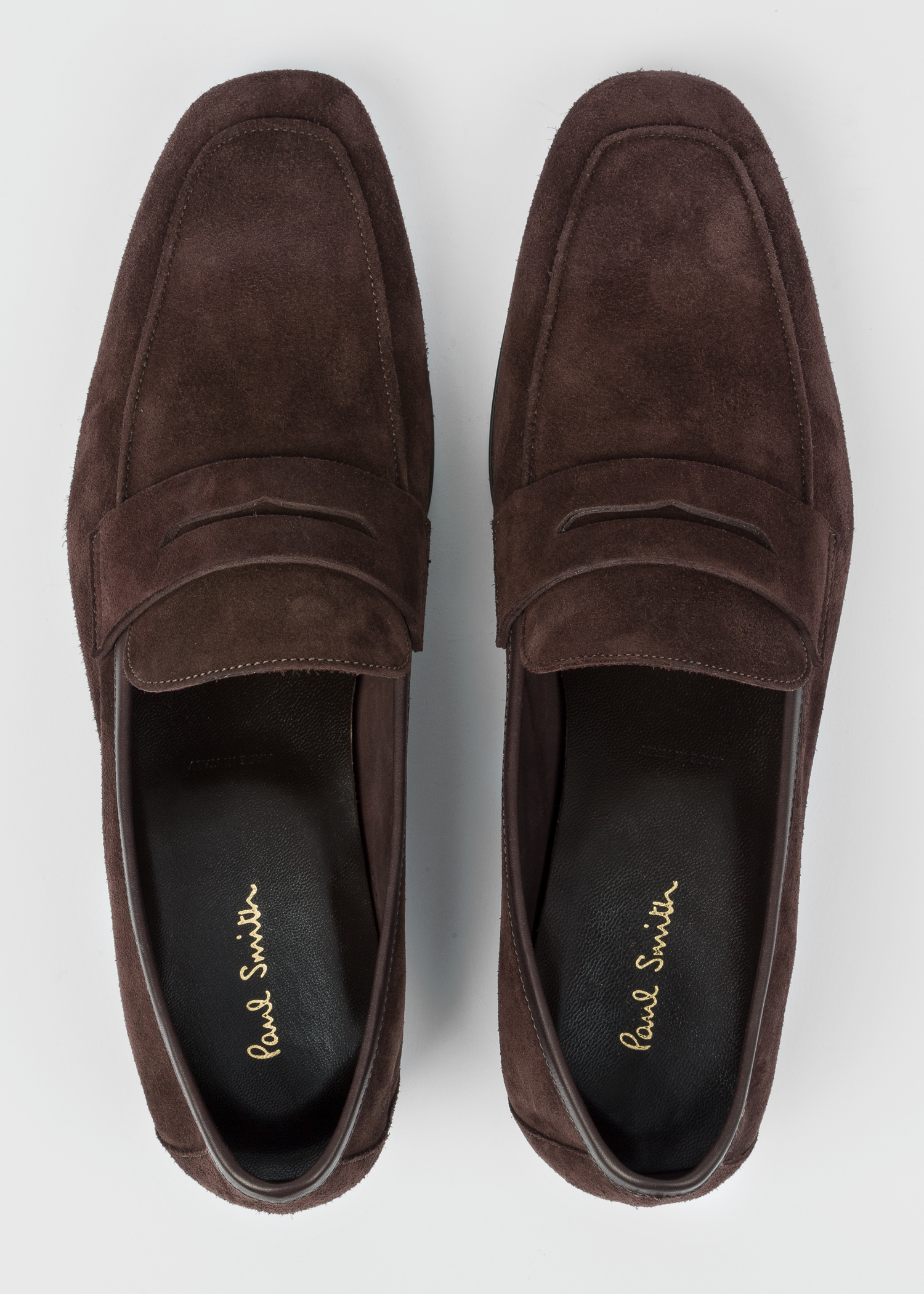 1675cc80f75 Top Down View - Men s Chocolate Suede Leather  Glynn  Penny Loafers ...