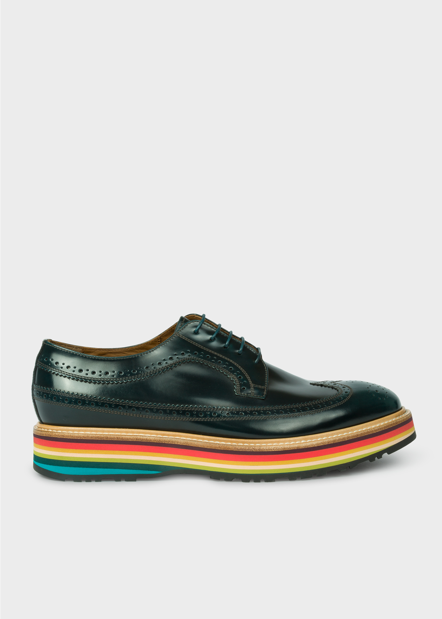 765c3b31a2c Men's Dark Green Leather 'Grand' Brogues With Striped Soles - Paul ...
