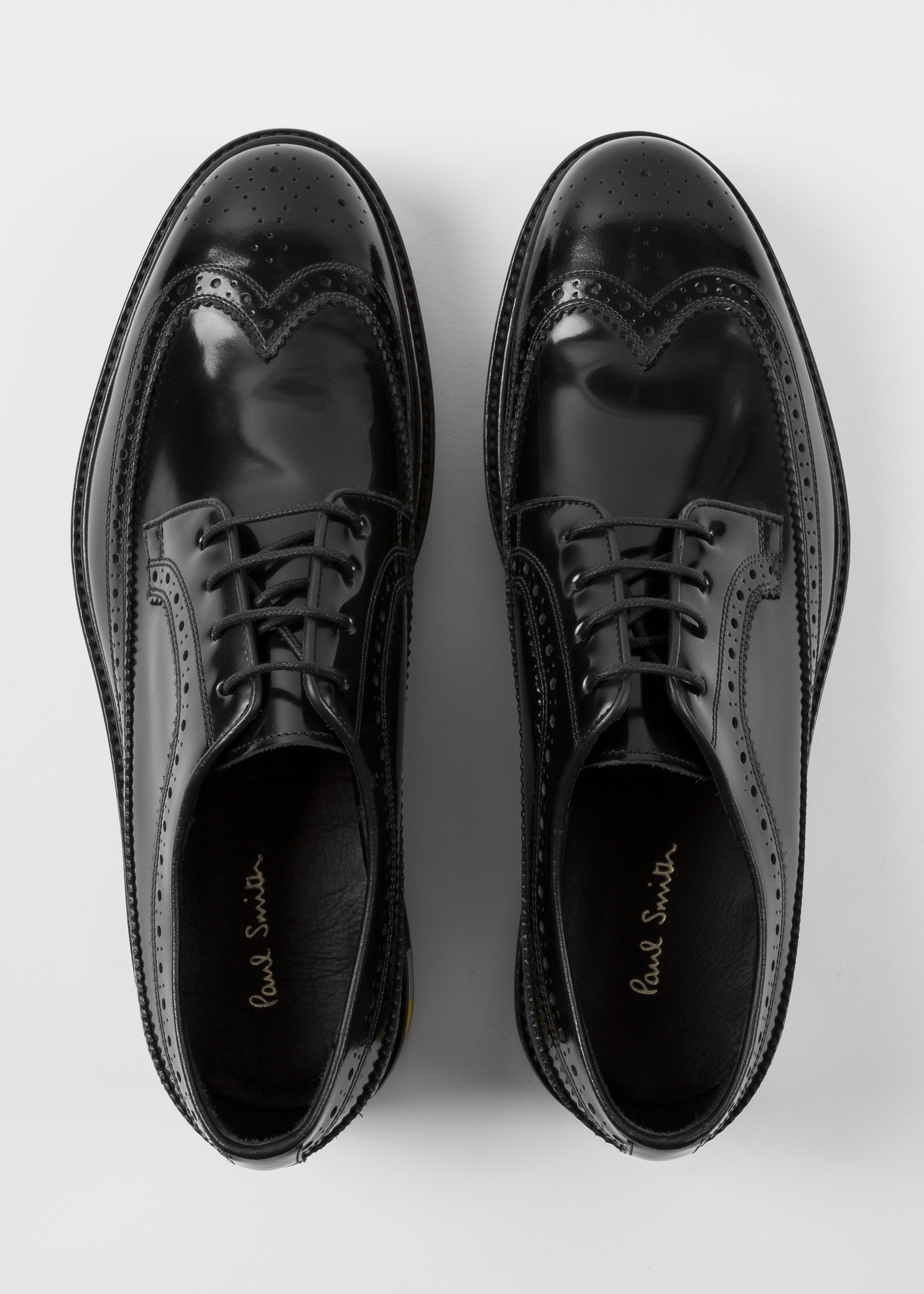 ec099a0cf0 Front view - Men's Black Patent 'Grand' Brogues With Striped Soles Paul  Smith