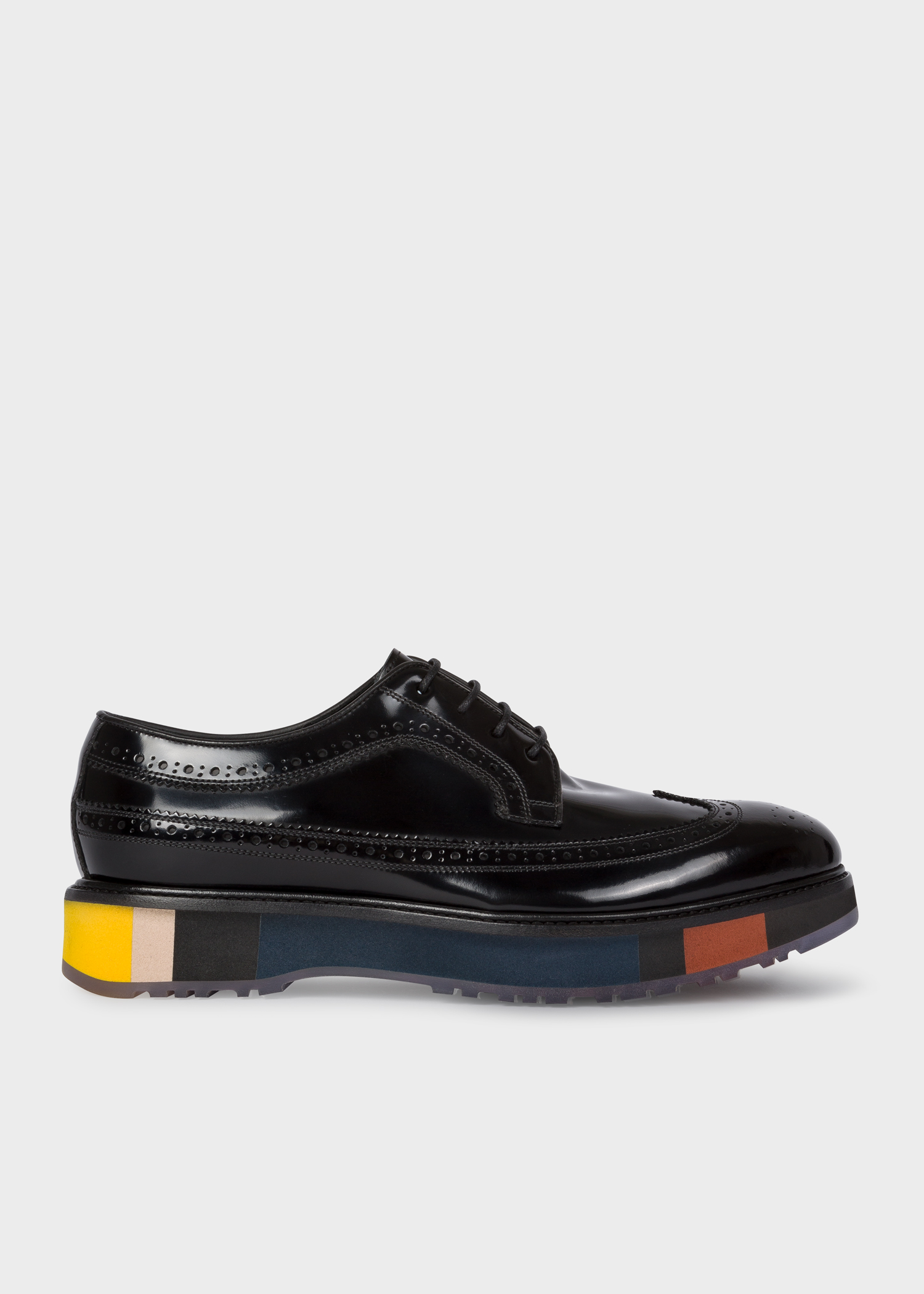 75b6cc7f01 Side view - Men's Black Patent 'Grand' Brogues With Striped Soles Paul Smith