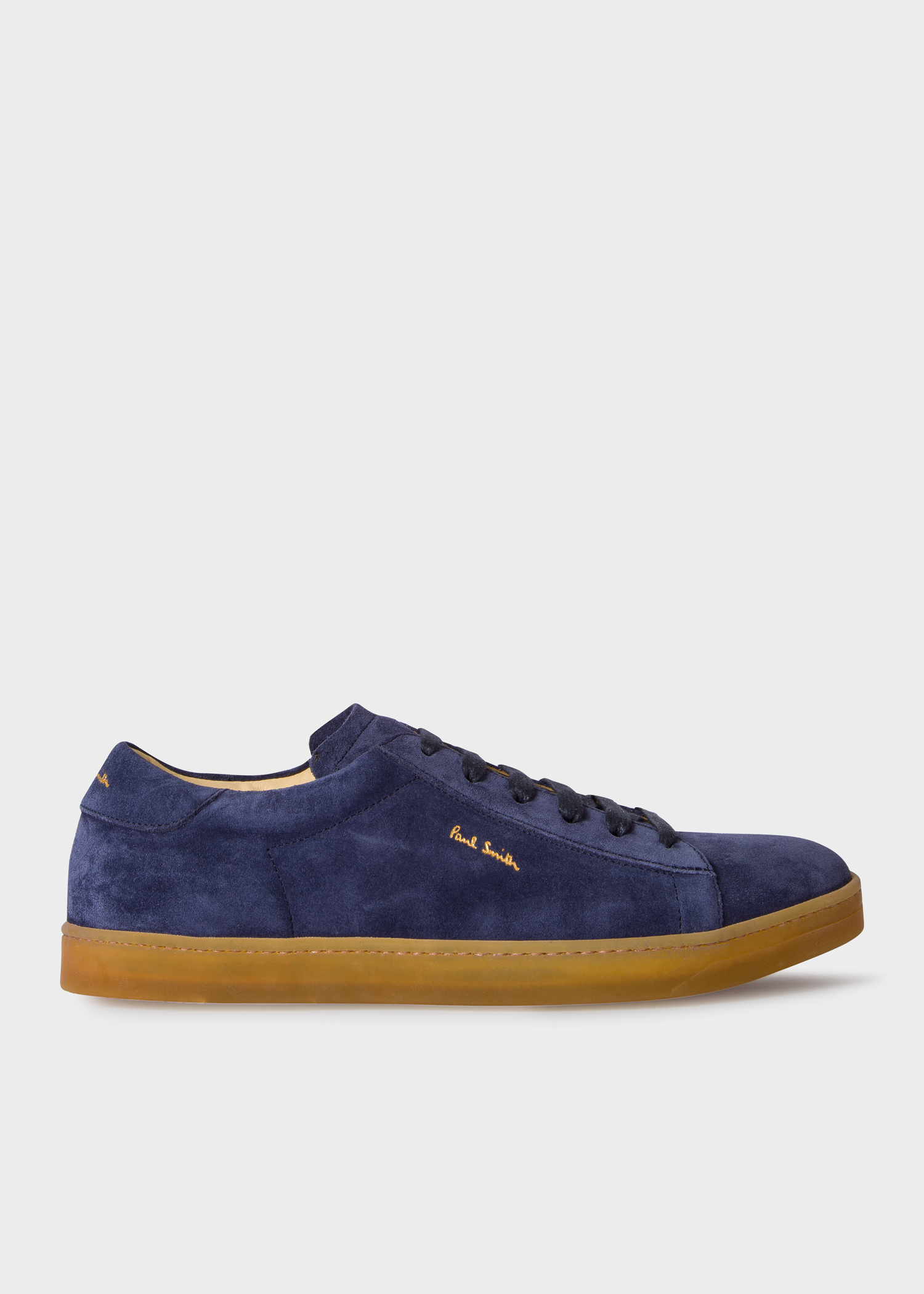 Men S Navy Suede Huxley Trainers With Natural Rubber