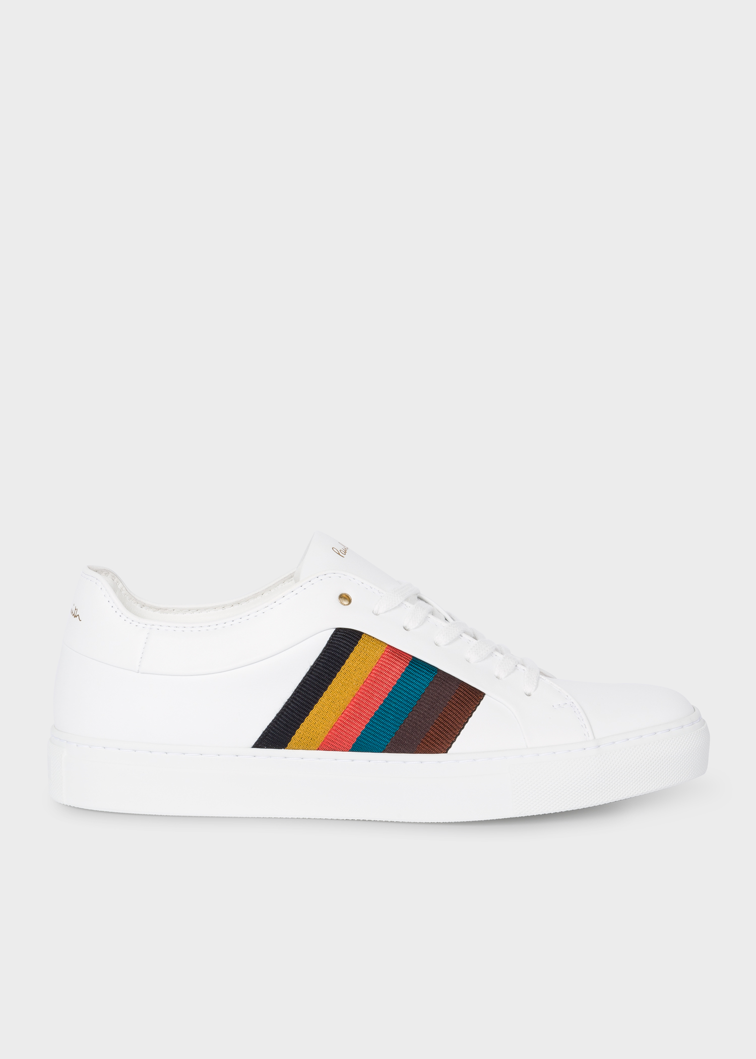 most desirable fashion 2018 sneakers marketable Men's White Calf Leather 'Ivo' Trainers With Bright Stripe Panels
